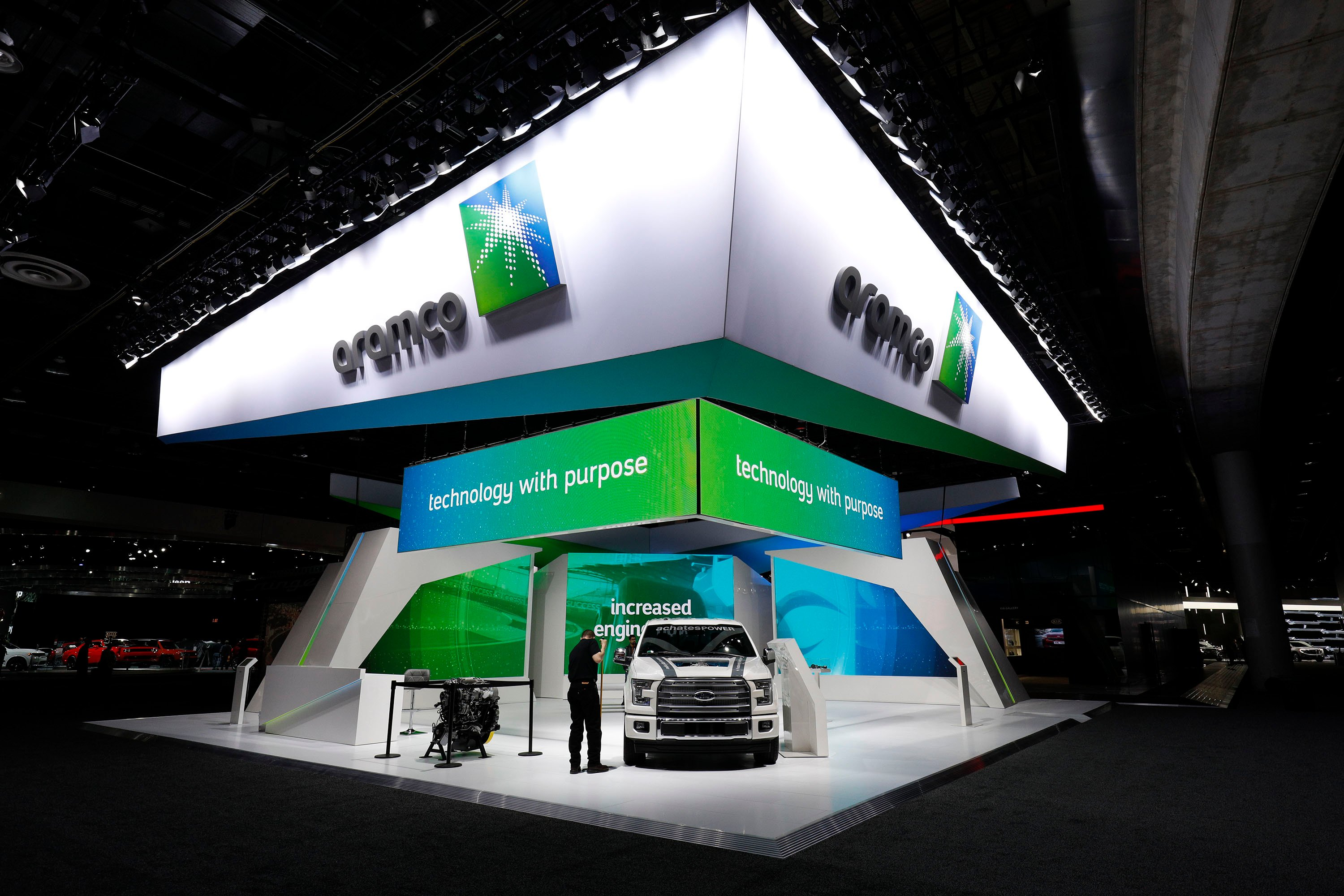 The Aramco exhibit is shown at the 2018 North American International Auto Show January 16, 2018 in Detroit, Michigan. (Bill Pugliano/Getty Images)