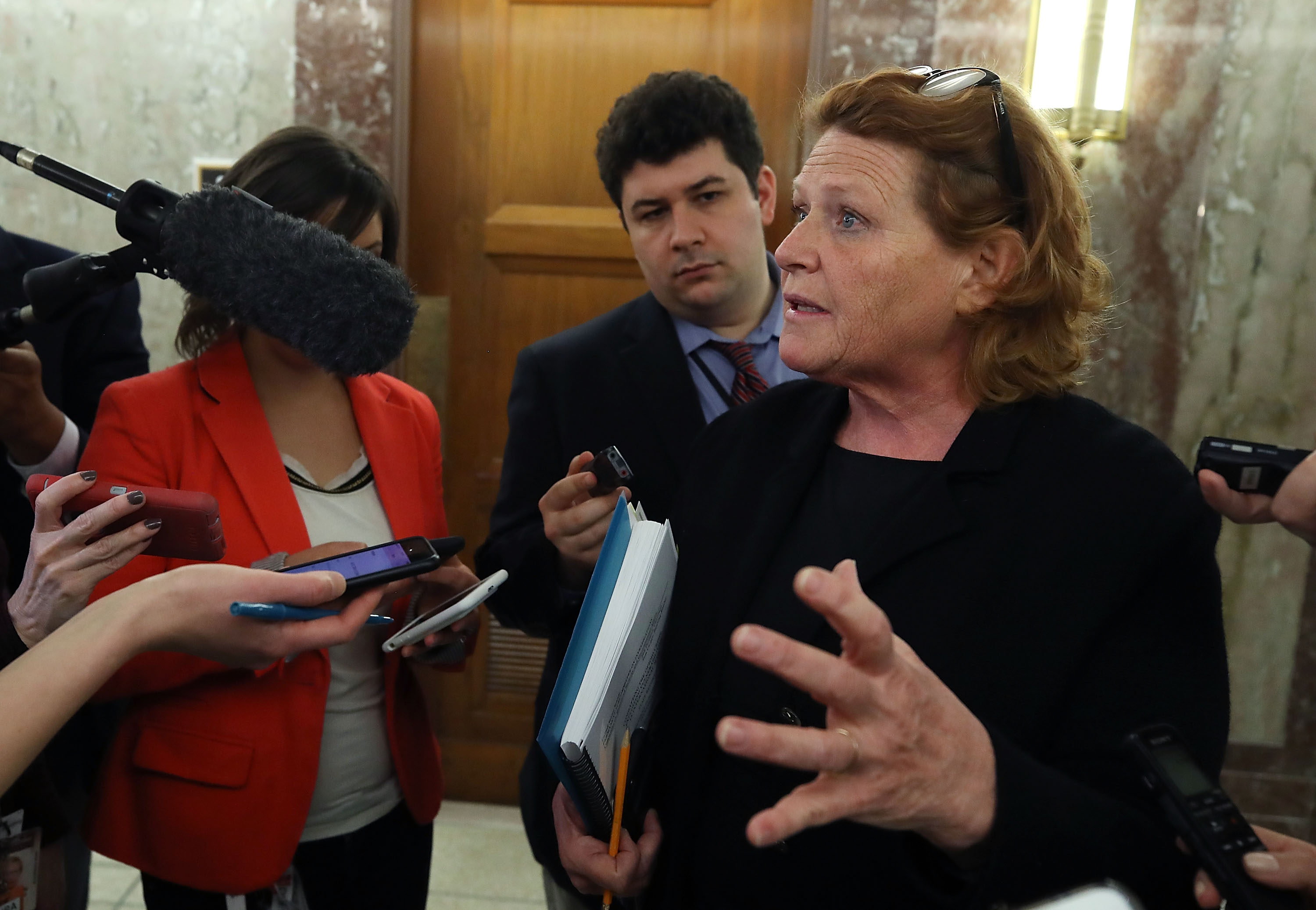 WASHINGTON, DC - JANUARY 25: Sen. Heidi Heitkamp (D-ND) speaks to the media about immigration, after attending a bipartisan meeting in Sen. Susan Collins office, on Capitol Hill January 25, 2018 in Washington, DC. (Photo by Mark Wilson/Getty Images)