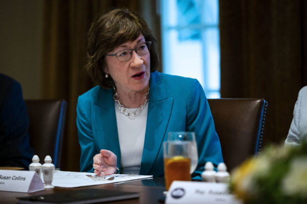 "WASHINGTON, DC - JUNE 26: U.S. Sen. Susan Collins (R-ME) attends a lunch meeting for Republican lawmakers in the Cabinet Room at the White House June 26, 2018 in Washington, DC. The president called the Supreme Court's 5-4 ruling in favor of the administration's travel ban a ""tremendous victory,"" according to published reports. (Photo by Al Drago-Pool/Getty Images)"