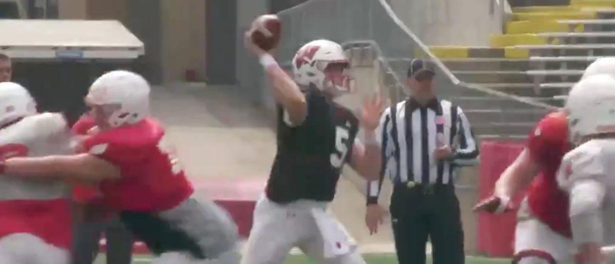 Graham Mertz (Credit: Screenshot/Twitter Video https://twitter.com/BadgerFootball/status/1114619061135187968)