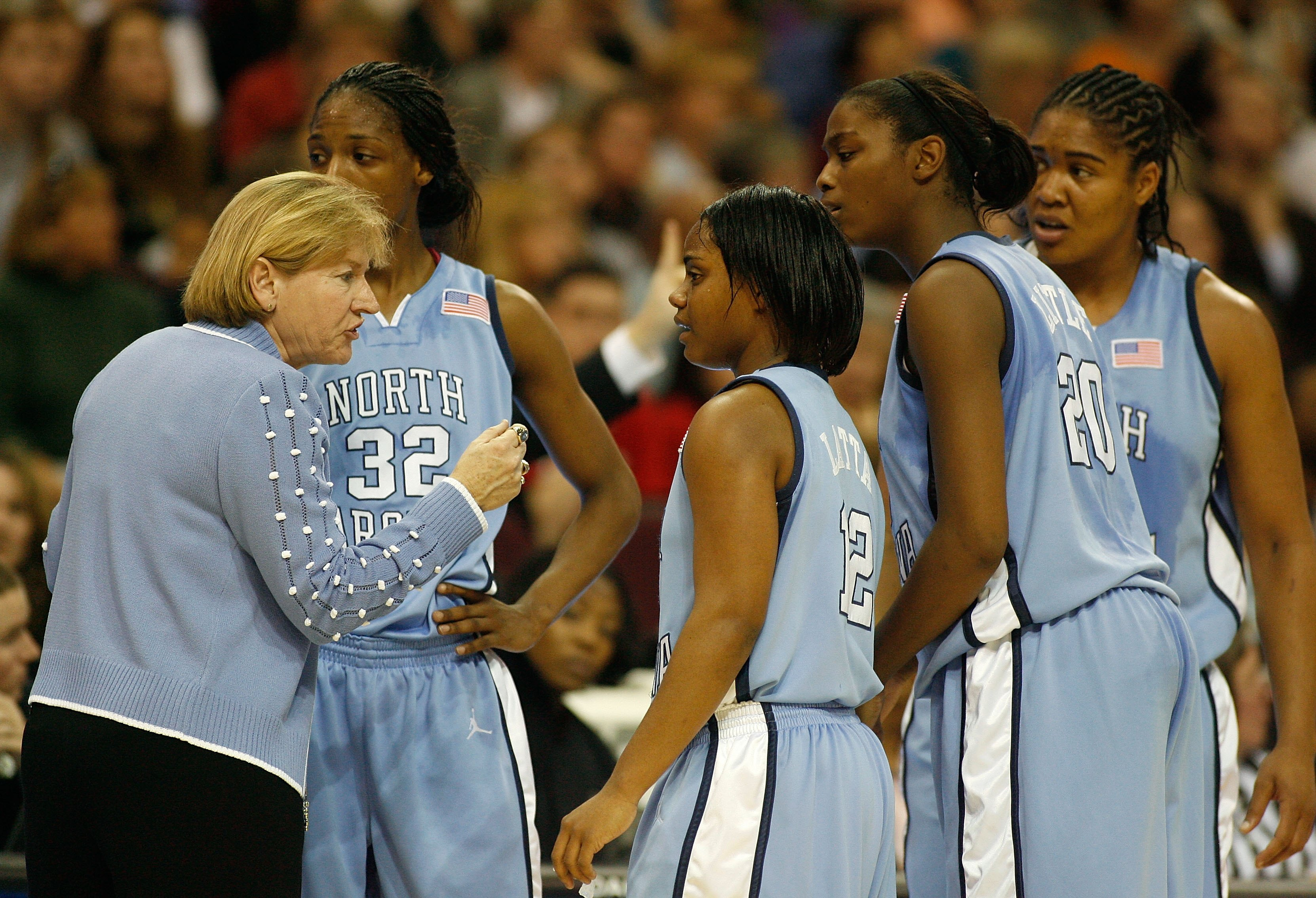 CLEVELAND - APRIL 01: Head coach Sylvia Hatchell of the North Carolina Tar Heels talks with her players during a timeout against the Tennessee Lady Volunteers during their National Semifinal game of the 2007 NCAA Women's Final Four at the Quicken Loans Arena on April 1, 2007 in Cleveland, Ohio. Getty Images/ Gregory Shamus