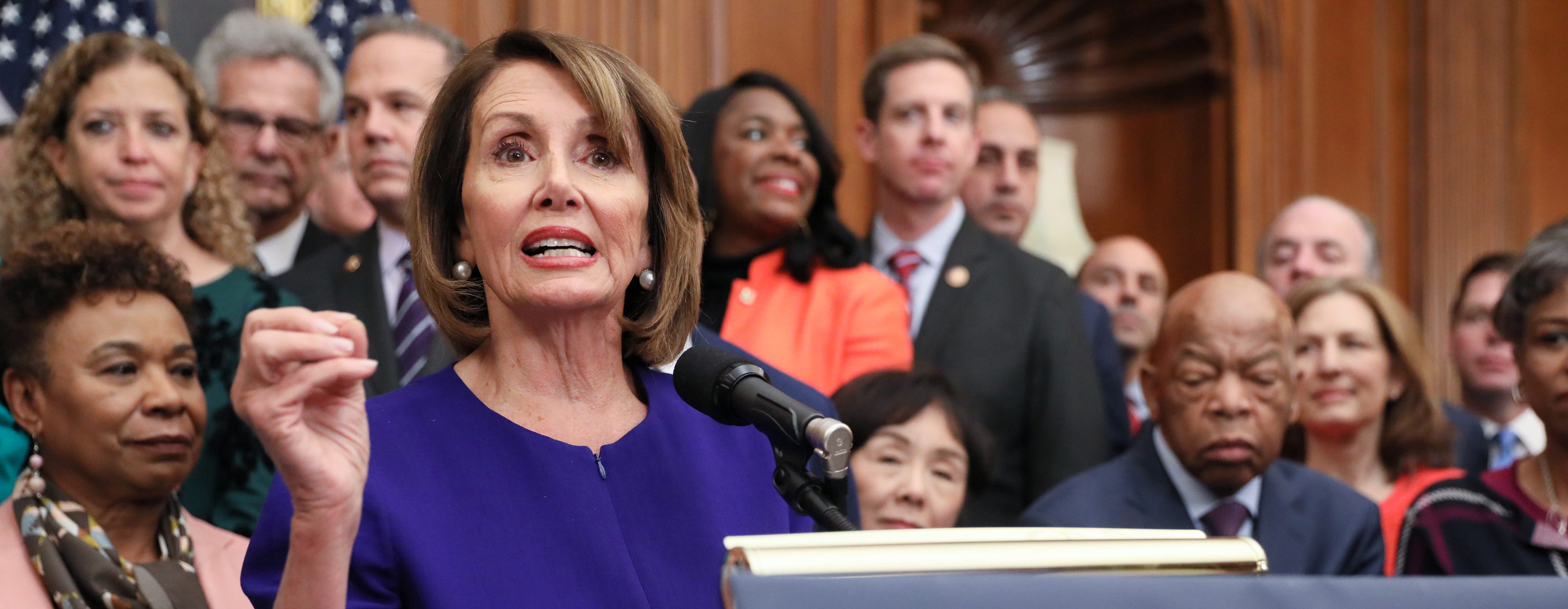 U.S. House Speaker Nancy Pelosi (D-CA) leads Democrats in introducing proposed government reform legislation, which they've titled the For the People Act, at the U.S. Capitol in Washington, U.S. January 4, 2019. REUTERS/Jonathan Ernst.