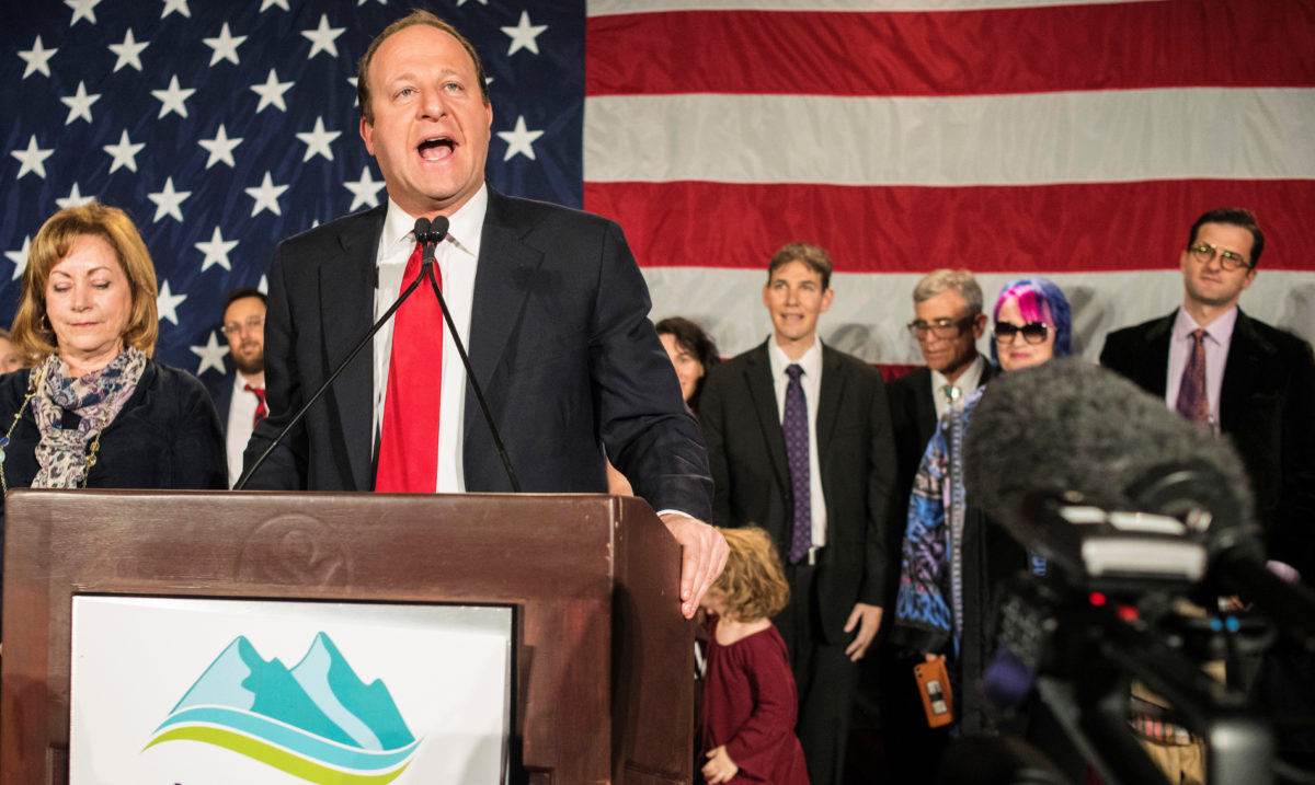 Democratic gubernatorial candidate Jared Polis reacts after appearing at his midterm election night party in Denver, Colorado, Nov. 6, 2018. REUTERS/Evan Semon