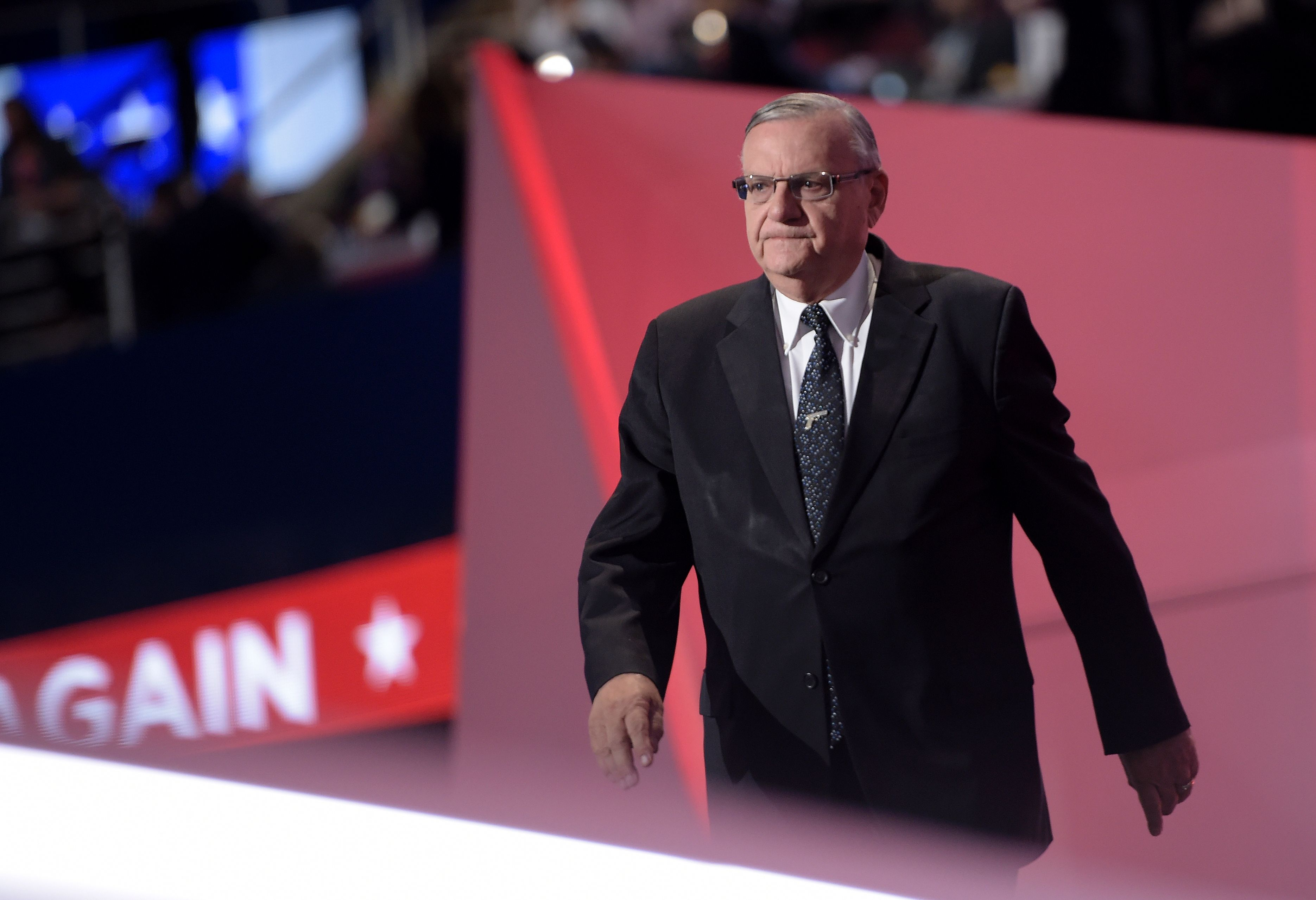 Sheriff Joe Arpaio arrives to speak at the Republican National Convention in Cleveland, Ohio on July 21, 2016. (Brendan Smialowski/AFP/Getty Images)
