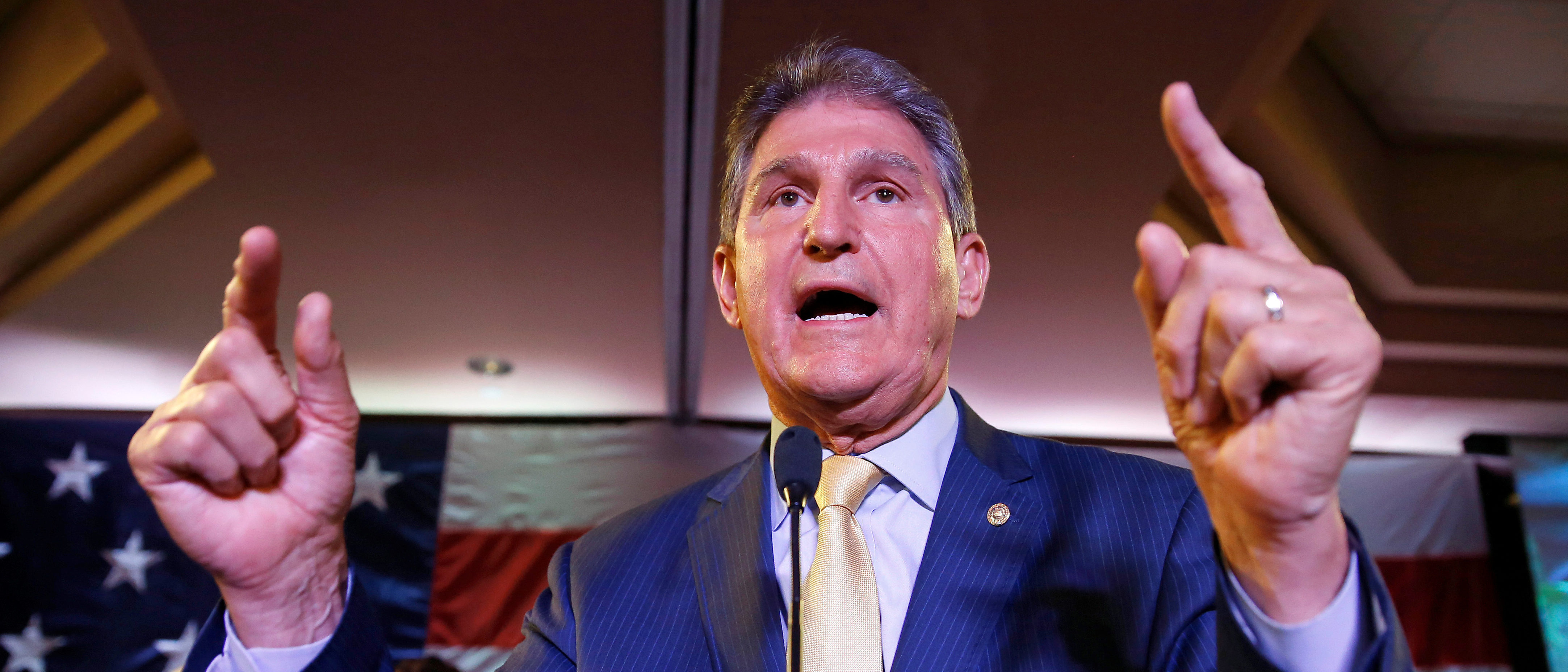 Senator Joe Manchin (D-WV) speaks after winning the 2018 midterm elections in Charlestown, West Virginia, U.S., November 6, 2018. REUTERS/Joshua Roberts.