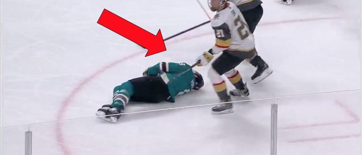 Joe Pavelski (Credit: Screenshot/Twitter Video https://twitter.com/hockeyfights/status/1120907847317905414)