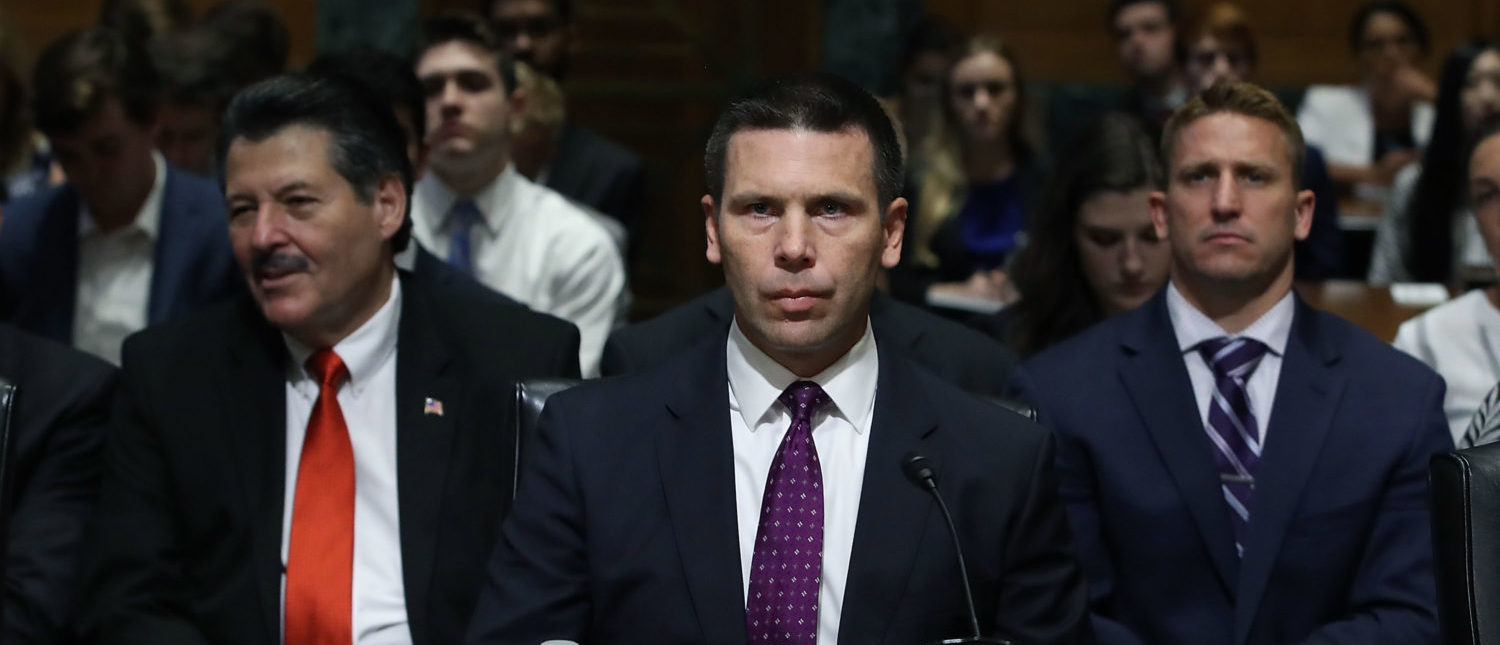 WASHINGTON, DC - JULY 18: Customs and Border Protection Commissioner Kevin K. McAleenan appears before the Senate Finance Subcommittee, on July 18, 2018 in Washington, DC. The hearing was focused was on trade and commerce at U.S. ports of entry. (Photo by Mark Wilson/Getty Images)