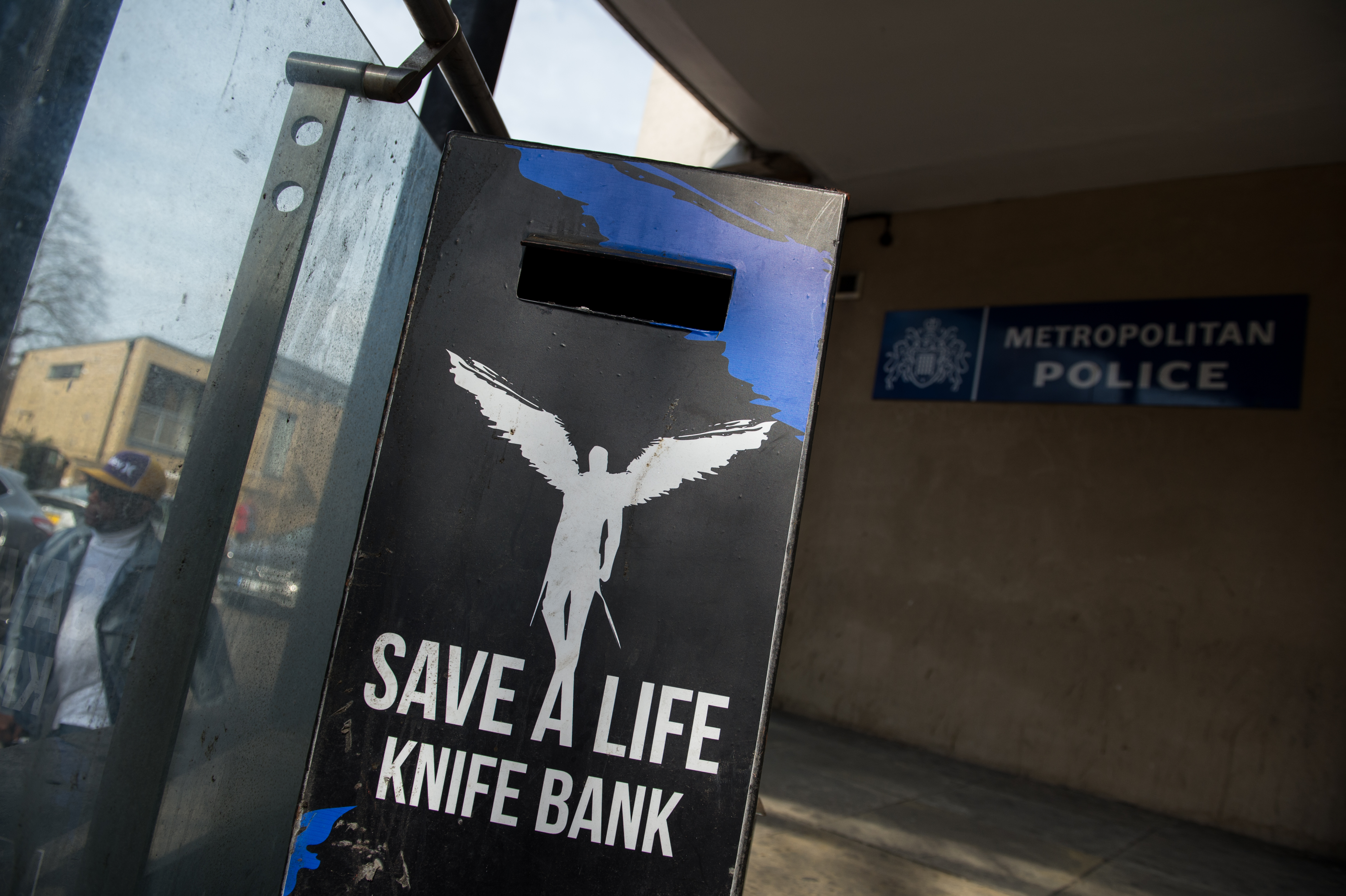 A knife bank is seen outside Brixton police station, as extra police officers have been deployed after a recent rise in killings in the capital on April 7, 2018 in London, England. (Photo by Chris J Ratcliffe/Getty Images)