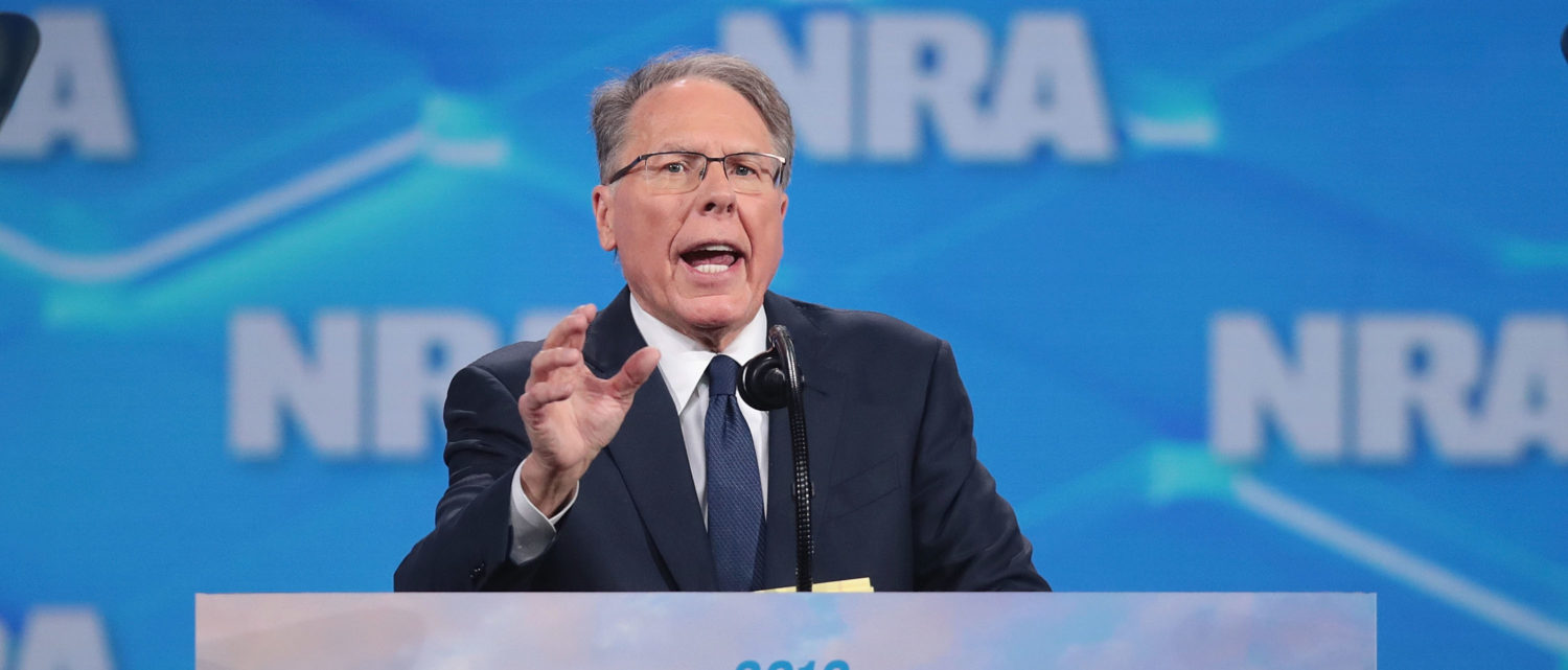 INDIANAPOLIS, INDIANA - APRIL 26: Wayne LaPierre, NRA vice president and CEO, speaks to guests at the NRA-ILA Leadership Forum at the 148th NRA Annual Meetings & Exhibits on April 26, 2019 in Indianapolis, Indiana. The convention, which runs through Sunday, features more than 800 exhibitors and is expected to draw 80,000 guests. (Photo by Scott Olson/Getty Images)