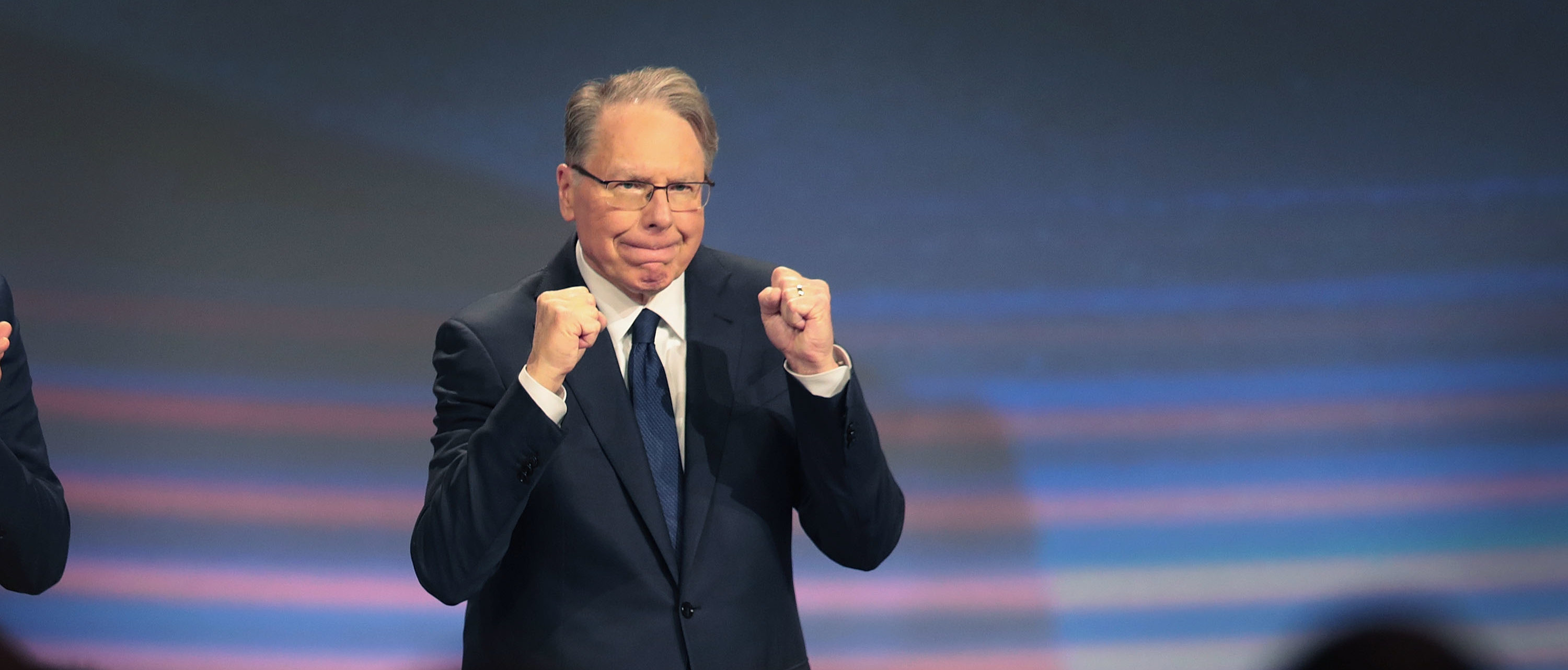 INDIANAPOLIS, INDIANA - APRIL 27: Wayne LaPierre, NRA vice president and CEO attends the NRA annual meeting of members at the 148th NRA Annual Meetings & Exhibits on April 27, 2019 in Indianapolis, Indiana. A statement was read at the meeting announcing that NRA president Oliver North, whose seat at the head table remained empty at the event, would not serve another term. There have been recent reports of tension between LaPierre and North, with North citing financial impropriety within the organization. (Photo by Scott Olson/Getty Images)