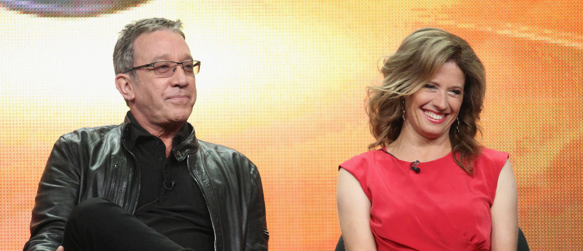 Executive producer/actor Tim Allen and actress Nancy Travis of the television show 'Last Man Standing' speaks during the Disney ABC Television Group portion of the 2011 Summer Television Critics Association Press Tour held at The Beverly Hilton Hotel on August 8, 2011 in Beverly Hills, California. (Photo by Frederick M. Brown/Getty Images)