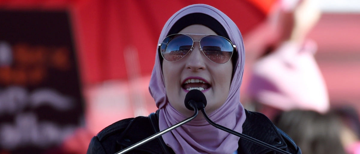 "Women's March Co-Chairwoman Linda Sarsour speaks during the Women's March ""Power to the Polls"" voter registration tour launch at Sam Boyd Stadium on January 21, 2018 in Las Vegas, Nevada. (Photo by Ethan Miller/Getty Images)"