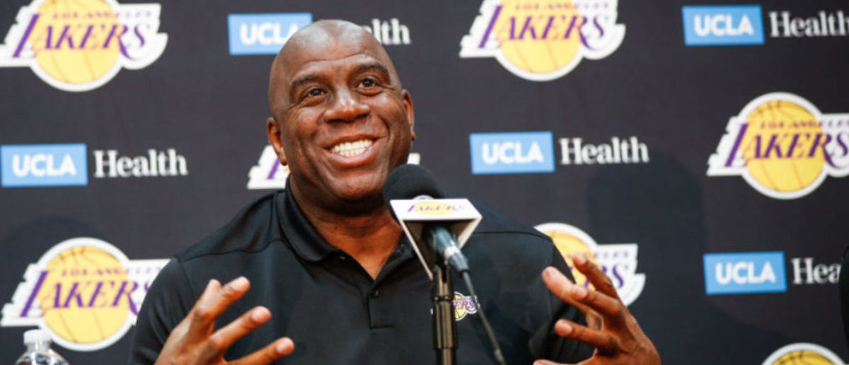 "EL SEGUNDO, CA - SEPTEMBER 20: Earvin ""Magic"" Johnson discusses the upcoming Los Angeles Lakers' season at UCLA Health Training Center on September 20, 2018 in El Segundo, California. (Photo by Meg Oliphant/Getty Images)"