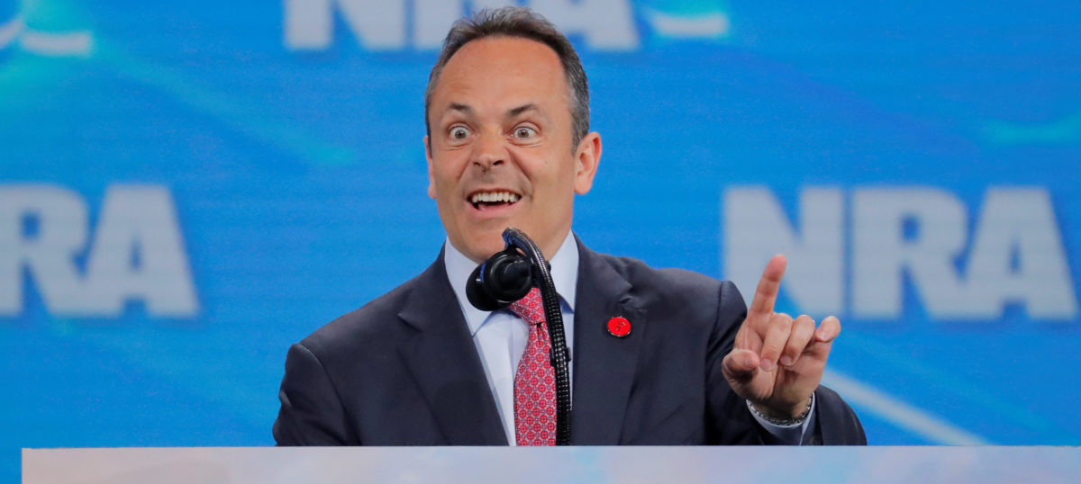 Governor of Kentucky, Matt Bevin, addresses the 148th National Rifle Association (NRA) annual meeting in Indianapolis, Indiana, U.S., April 26, 2019. REUTERS/Lucas Jackson