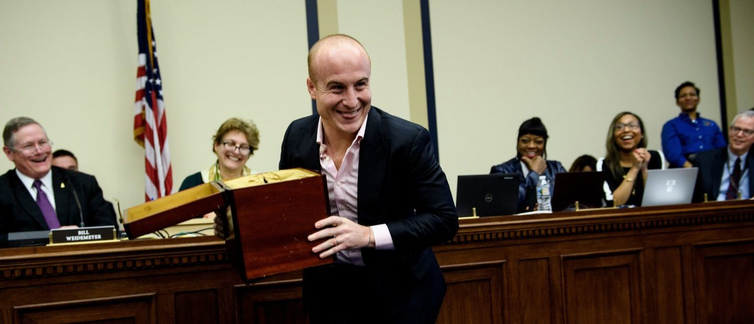 US Representative-elect Max Rose (D-NY) jokes about taking the lottery box during an office lottery for new members of Congress on Capitol Hill November 30, 2018 in Washington, DC. (Photo: BRENDAN SMIALOWSKI/AFP/Getty Images)