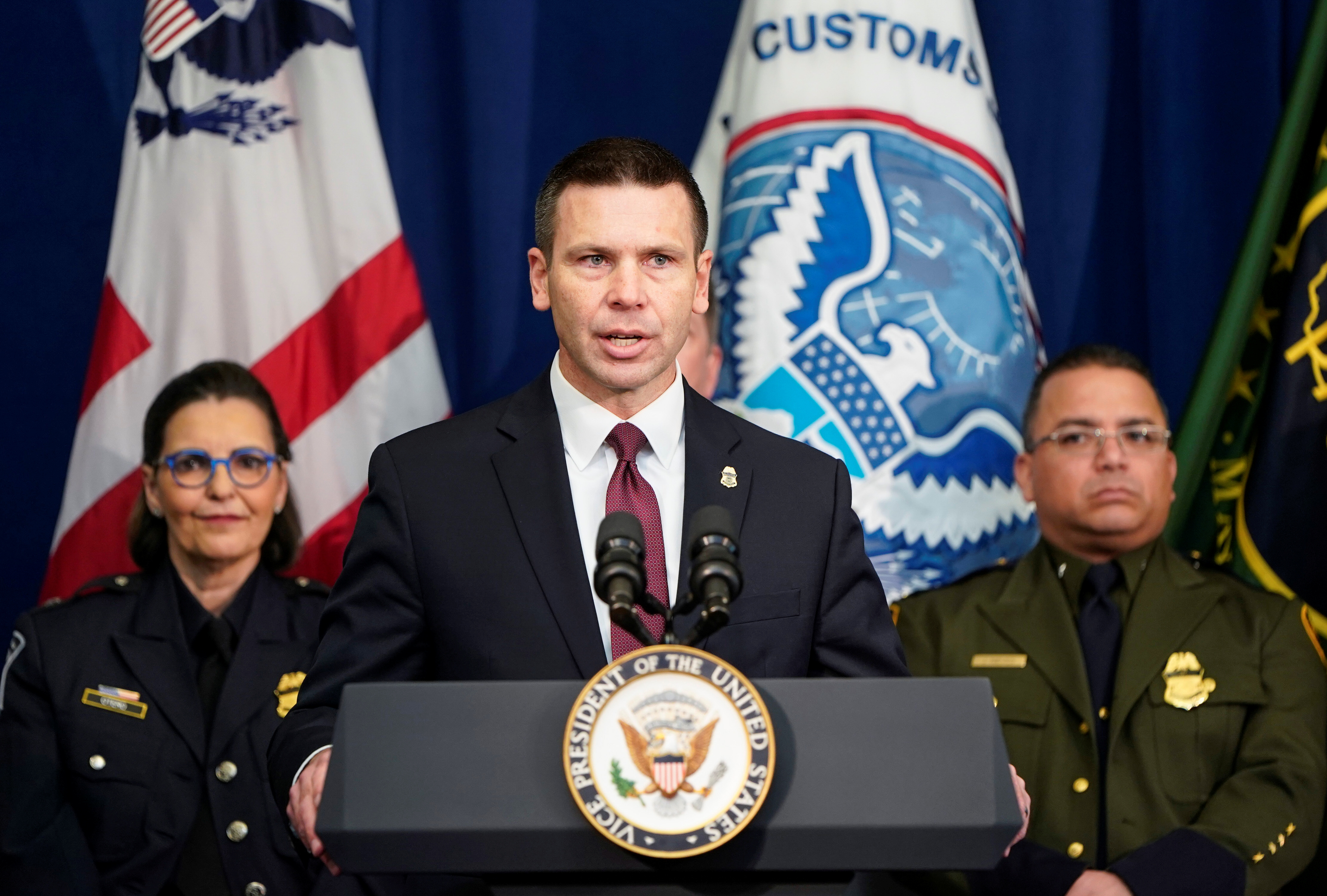 U.S. Customs and Border Protection Commissioner Kevin K. McAleenan speaks at the U.S. Customs and Border Protection Advanced Training Facility in Harpers Ferry, West Virginia
