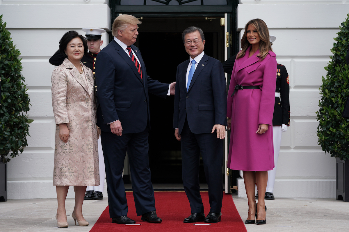 U.S. President Donald Trump and first lady Melania Trump welcome South Korean President Moon Jae-in and his wife Kim Jung-sook at the South Portico of the White House April 11, 2019 in Washington, DC. Moon is in Washington to try to jump-start talks between the U.S. and North Korea after the failed summit in Hanoi in February. (Photo by Alex Wong/Getty Images)