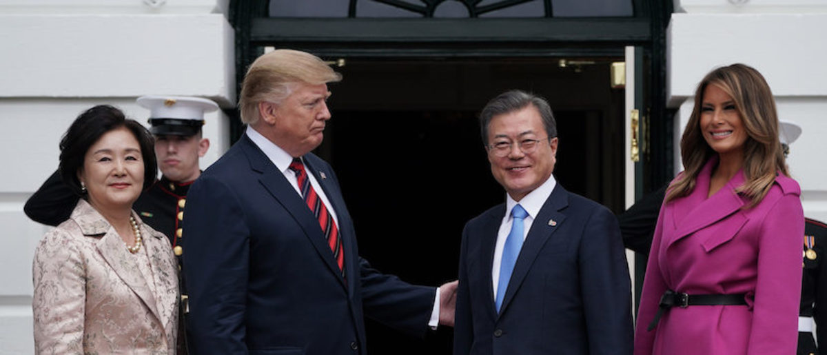 U.S. President Donald Trump and first lady Melania Trump welcome South Korean President Moon Jae-in and his wife Kim Jung-sook at the South Portico of the White House April 11, 2019 in Washington, DC. (Photo by Alex Wong/Getty Images)