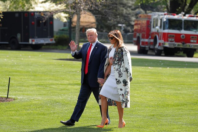 Melania Steps Into Spring In Gorgeous White Dress And