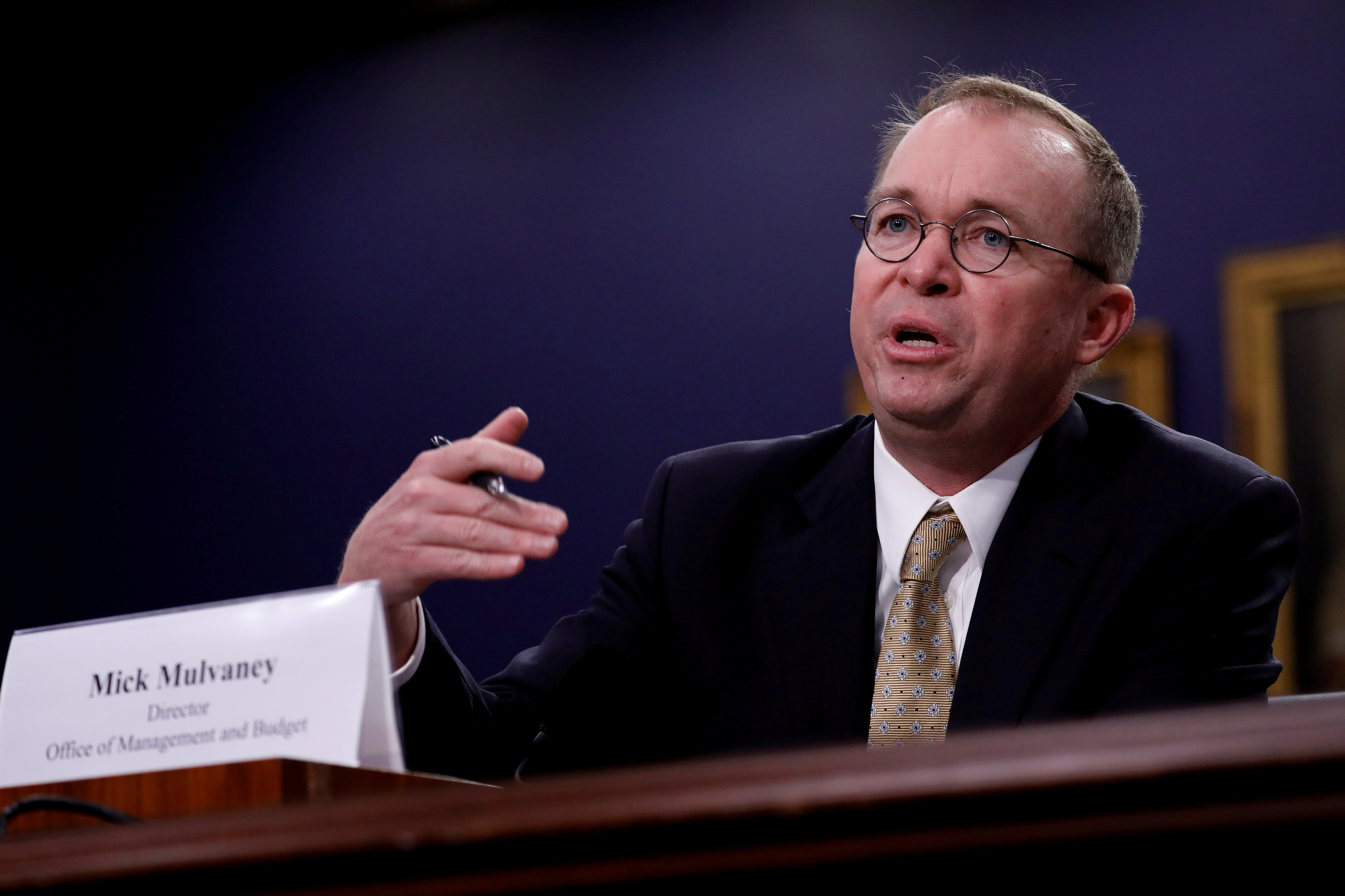 Mick Mulvaney testifies before the House Appropriations Subcommittee on Financial Services and General Government on Capitol Hill in Washington, U.S., April 18, 2018. REUTERS/Aaron P. Bernstein