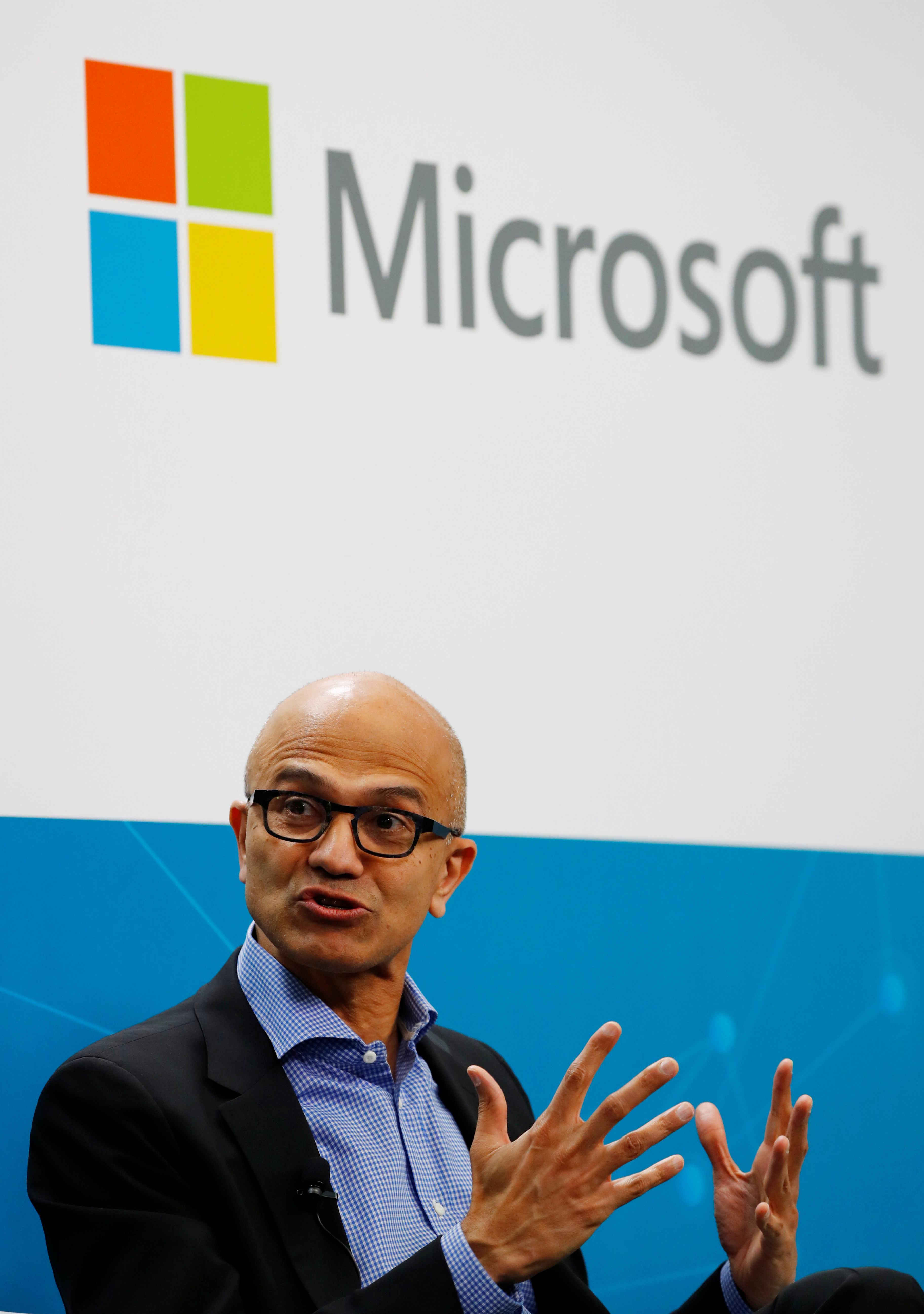 Microsoft CEO Satya Nadella addresses a news conference in Berlin, Germany February 27, 2019. REUTERS/Fabrizio Bensch