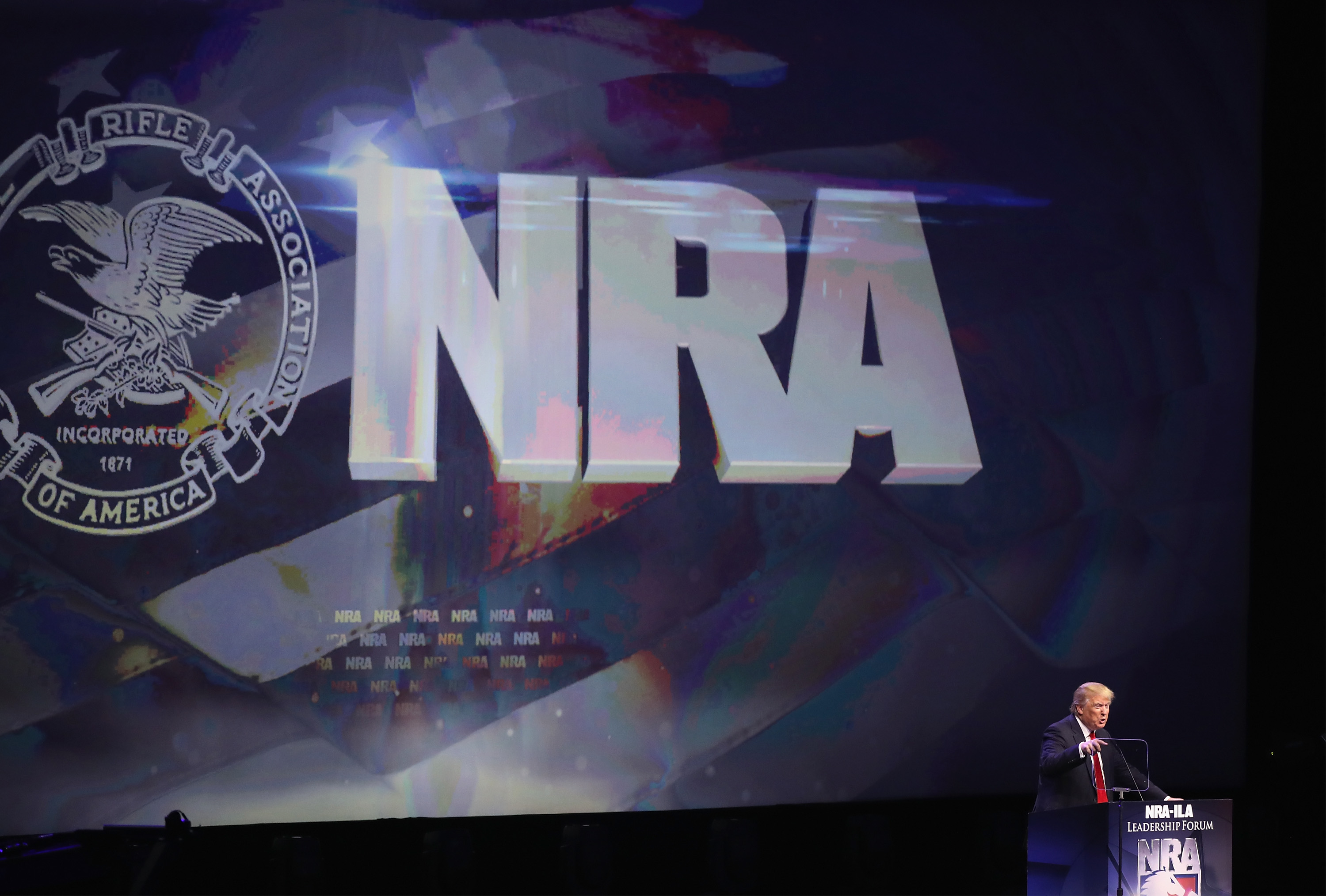 LOUISVILLE, KY - MAY 20: Republican presidential candidate Donald Trump speaks at the National Rifle Association's NRA-ILA Leadership Forum during the NRA Convention at the Kentucky Exposition Center on May 20, 2016 in Louisville, Kentucky. The NRA endorsed Trump at the convention. The convention runs May 22. (Photo by Scott Olson/Getty Images)
