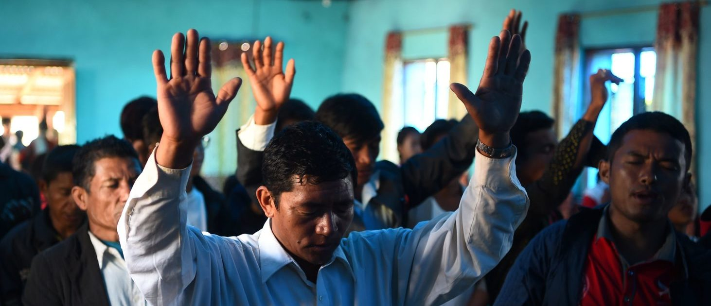 In this photograph taken on October 8, 2017, Nepali Christians take part in a church service in Lapa village in Dhading, some 100 kms northwest of Kathmandu. (PRAKASH MATHEMA/AFP/Getty Images)