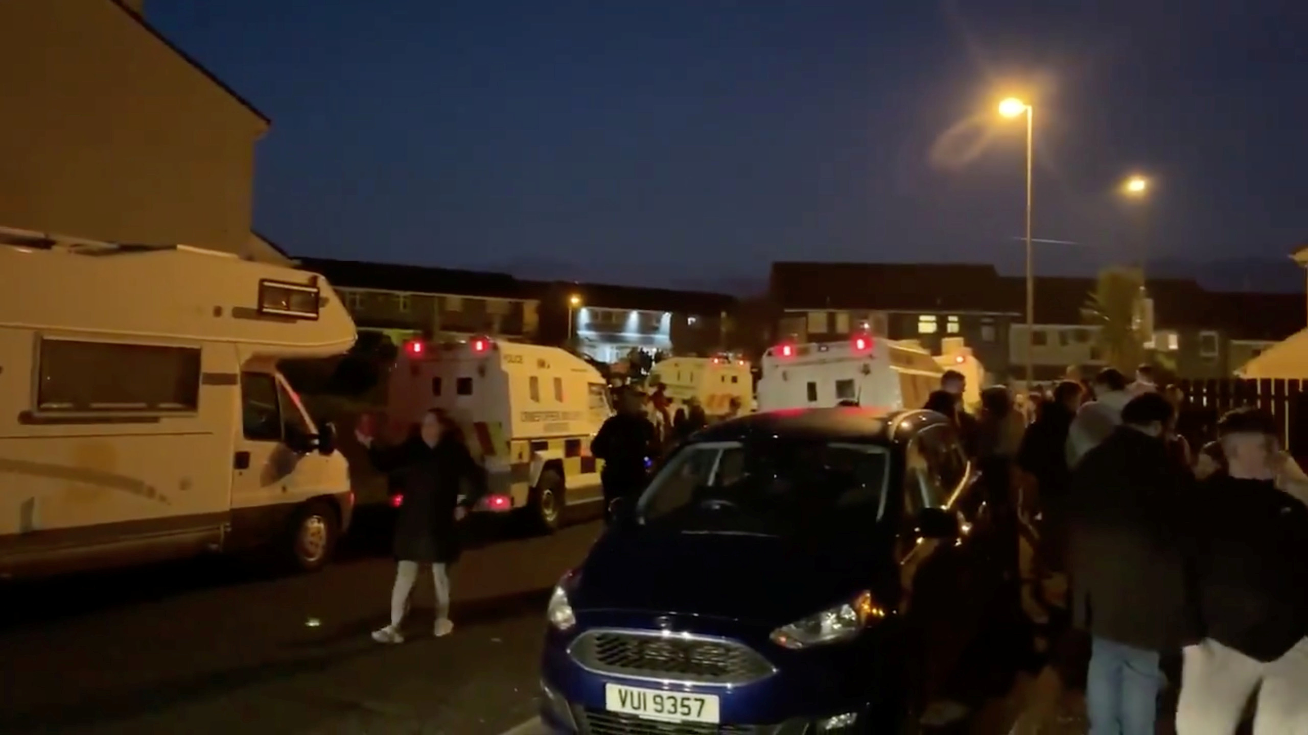 Emergency vehicles arrive at a scene of a riot in Londonderry, Northern Ireland April 18, 2019, in this still image taken from a video from social media. Leona O'Neill via REUTERS