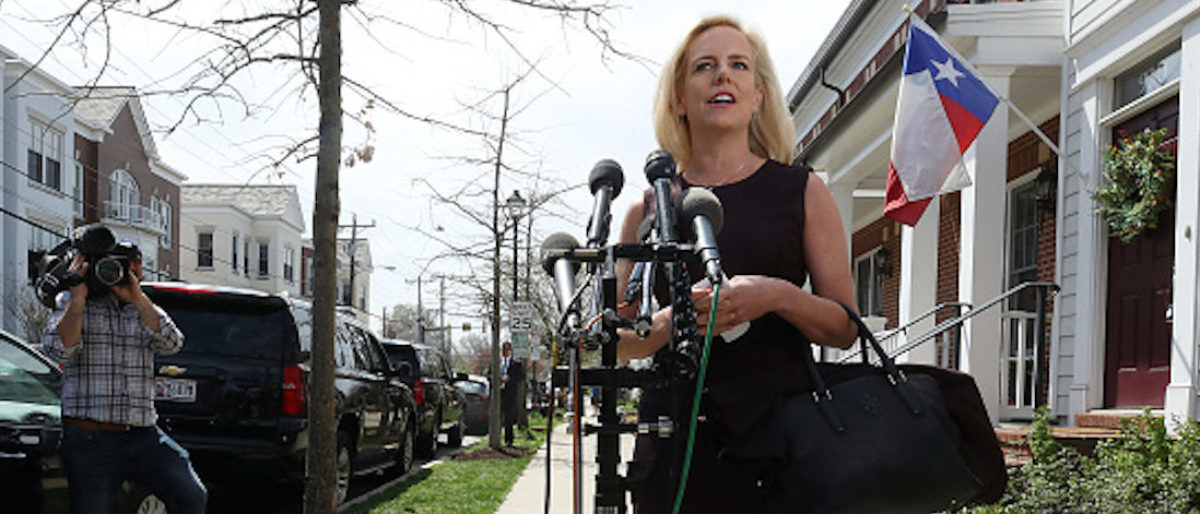 Outgoing Department of Homeland Security Secretary Kirstjen Nielsen speaks to the media outside of her home on April 8, 2019 in Alexandria, Virginia. (Photo by Mark Wilson/Getty Images)