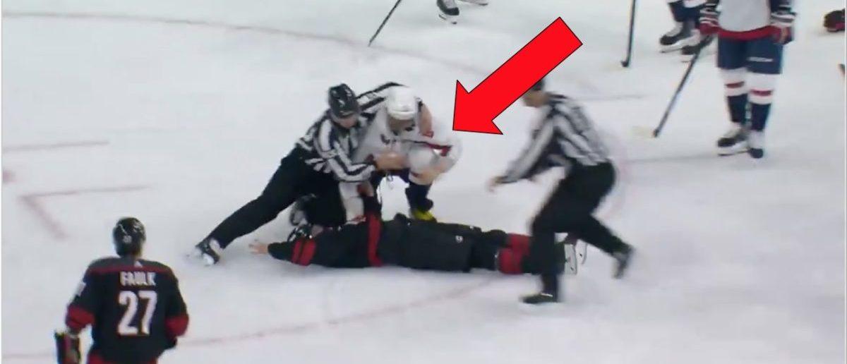 Ovechkin fight (Credit: Screenshot/Twitter Video https://twitter.com/bleacherreport/status/1117941292779102208?s=21)