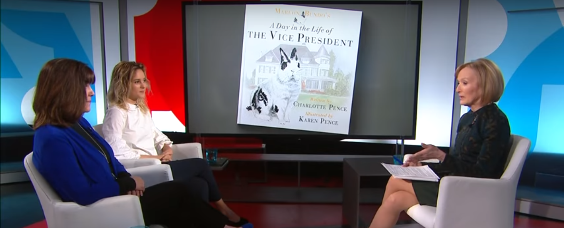 "Pictured are Karen and Charlotte Pence discussing their book, ""Marlon Bundo's Day in the Life of the Vice President."" Screenshot/ YouTube/PBSNewsHour"