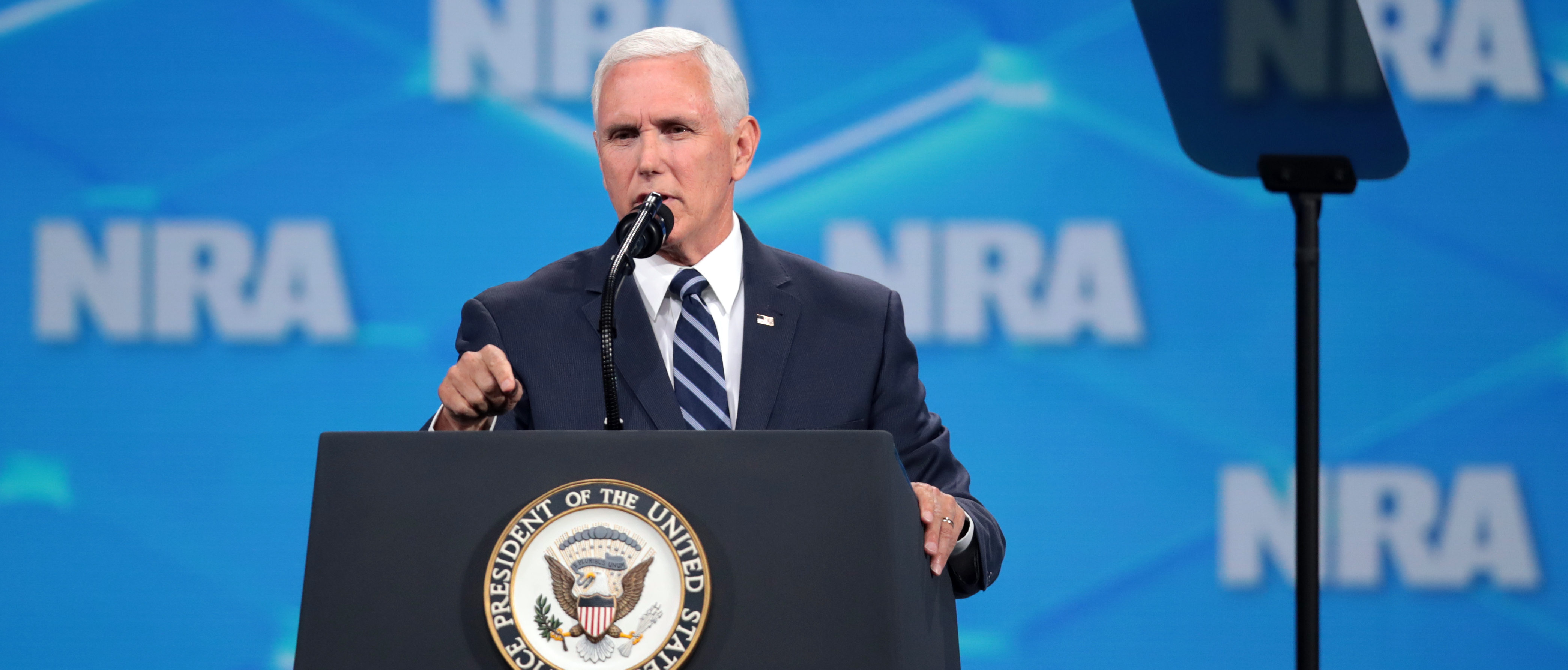 INDIANAPOLIS, INDIANA - APRIL 26: U.S. Vice President Mike Pence delivers remarks during the NRA-ILA Leadership Forum at the 148th NRA Annual Meetings & Exhibits on April 26, 2019 in Indianapolis, Indiana. The convention, which runs through Sunday, features more than 800 exhibitors and is expected to draw 80,000 guests. (Photo by Scott Olson/Getty Images)