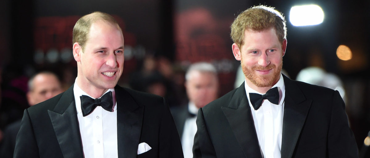 Prince William, Duke of Cambridge and Prince Harry attend the European Premiere of 'Star Wars: The Last Jedi' at Royal Albert Hall on December 12, 2017 in London, England. (Photo by Eddie Mulholland - WPA Pool/Getty Images)