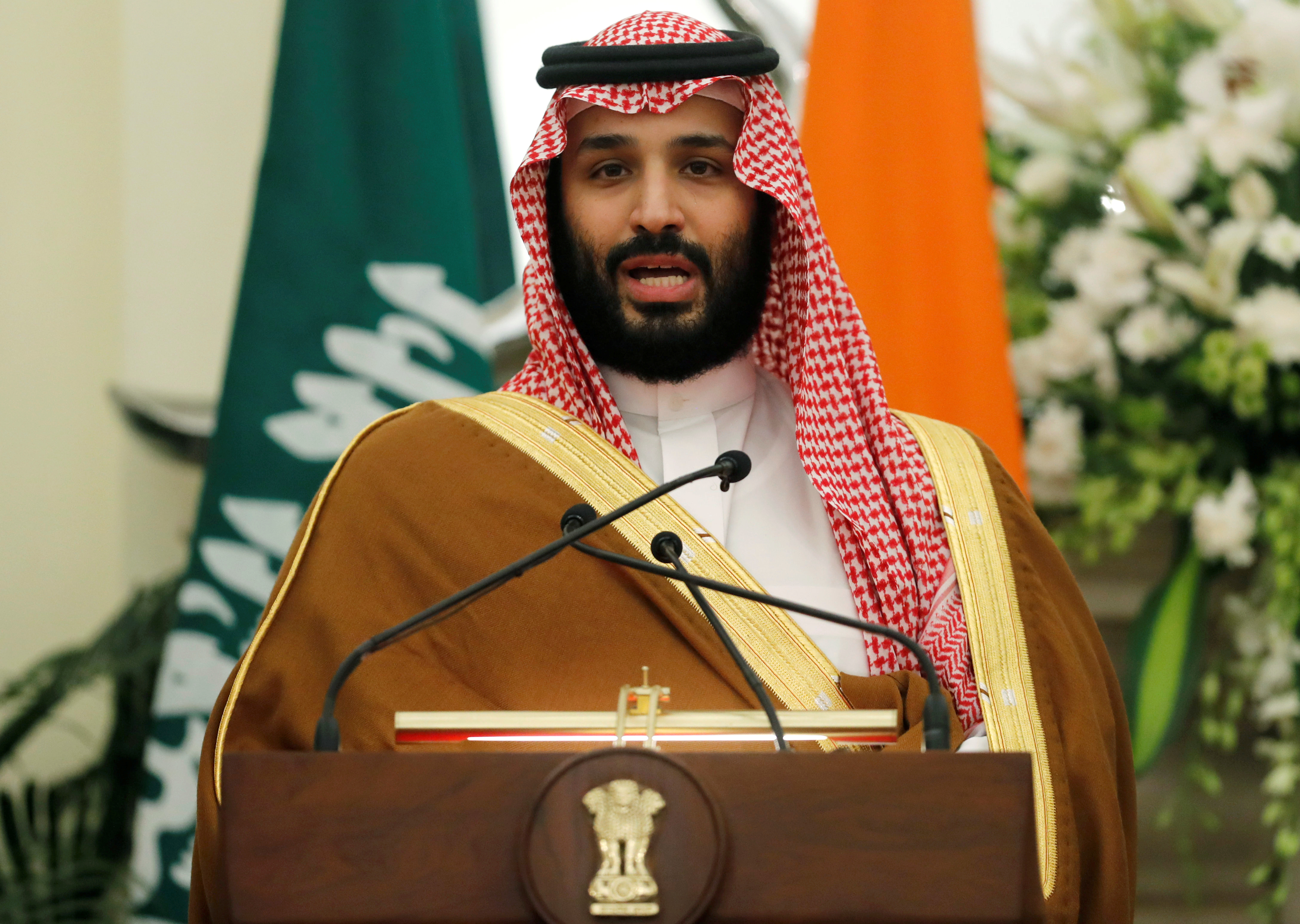 Saudi Arabia's Crown Prince Mohammed bin Salman speaks during a meeting with Indian Prime Minister Narendra Modi at Hyderabad House in New Delhi