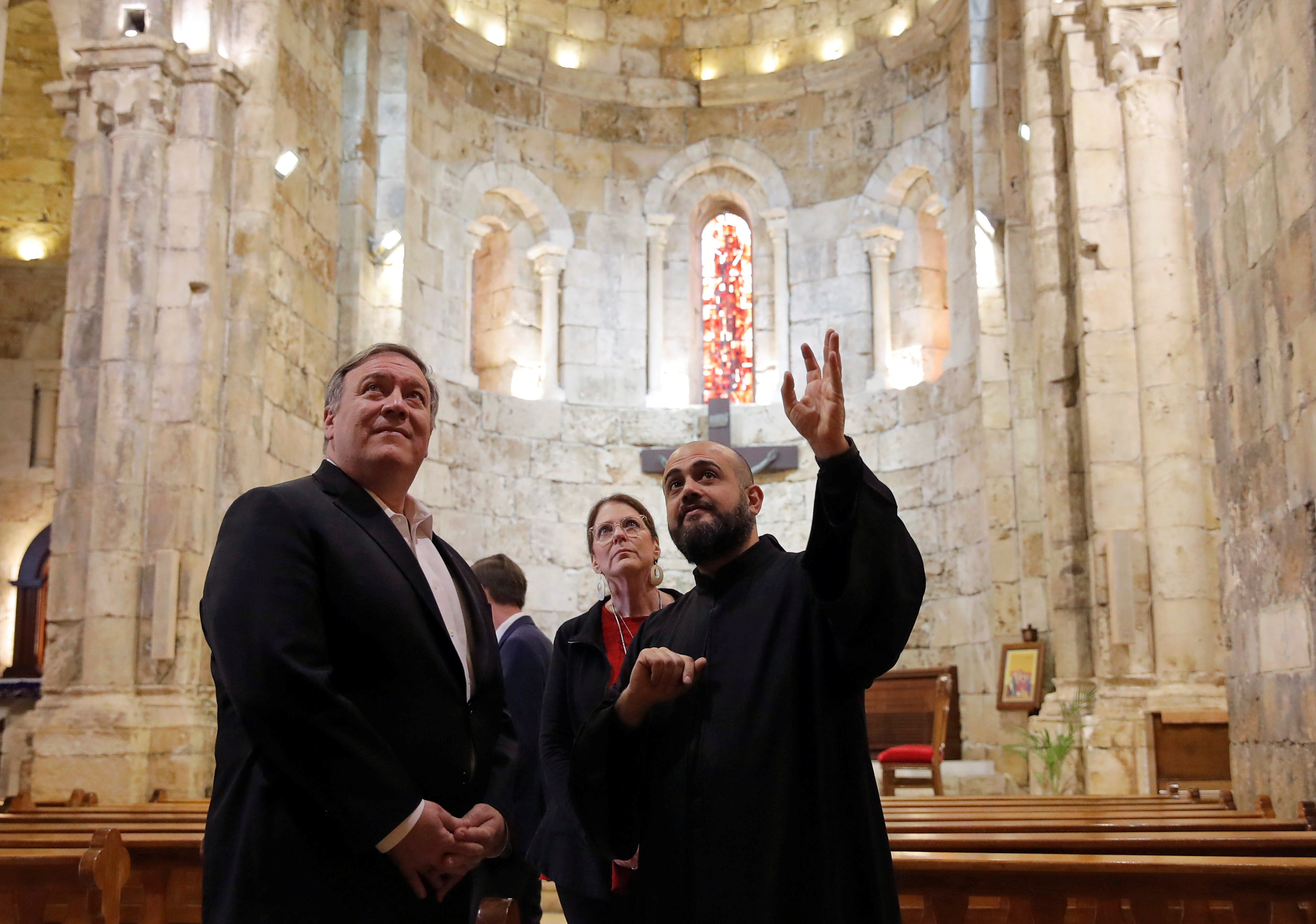 U.S. Secretary of State Mike Pompeo and his wife Susan visit a church at Byblos, Lebanon March 23, 2019. REUTERS/Jim Young/Pool