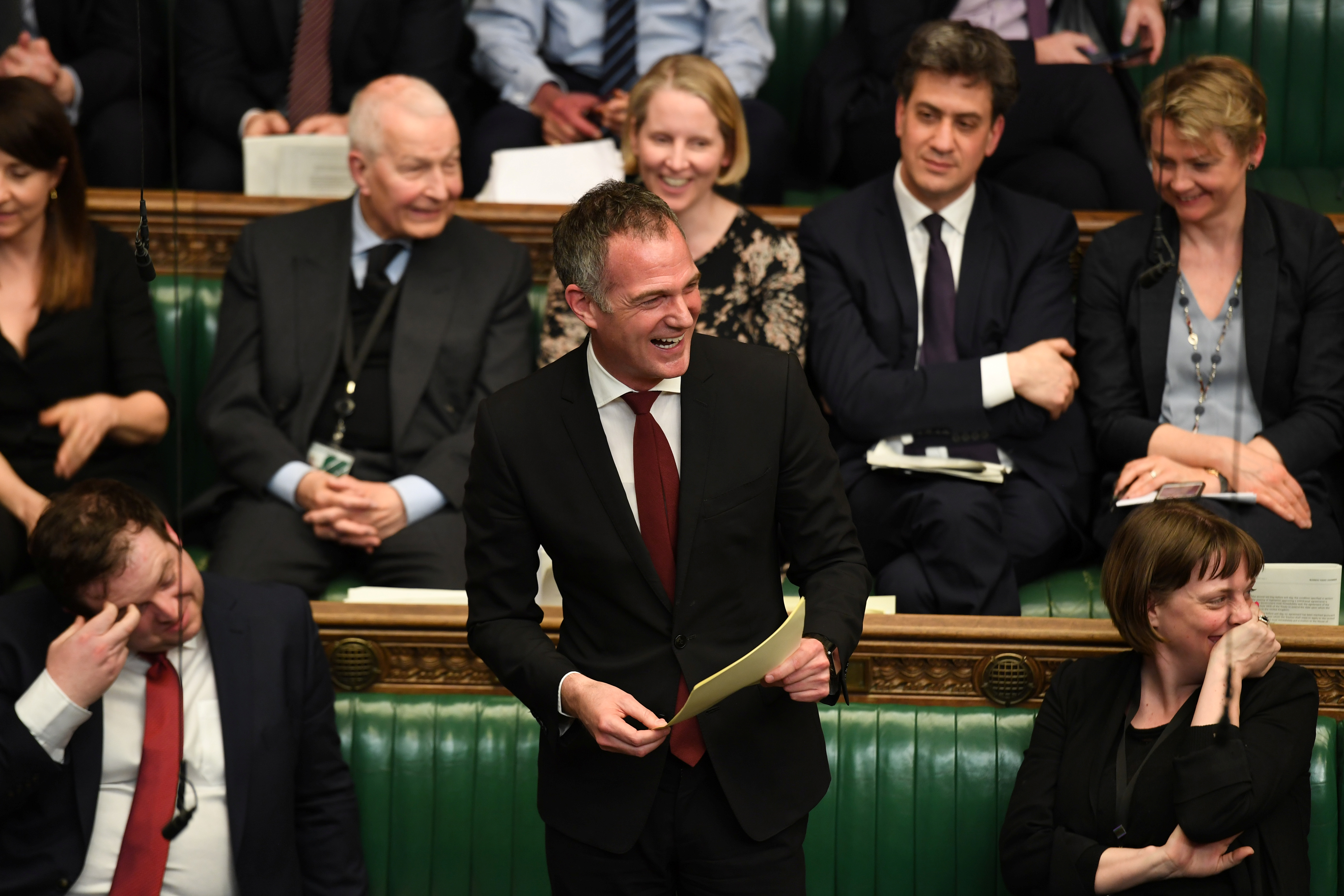 British Labour MP Peter Kyle laughs as he speaks at the House of Commons in London, Britain April 1, 2019. ©UK Parliament/Jessica Taylor/Handout via REUTERS