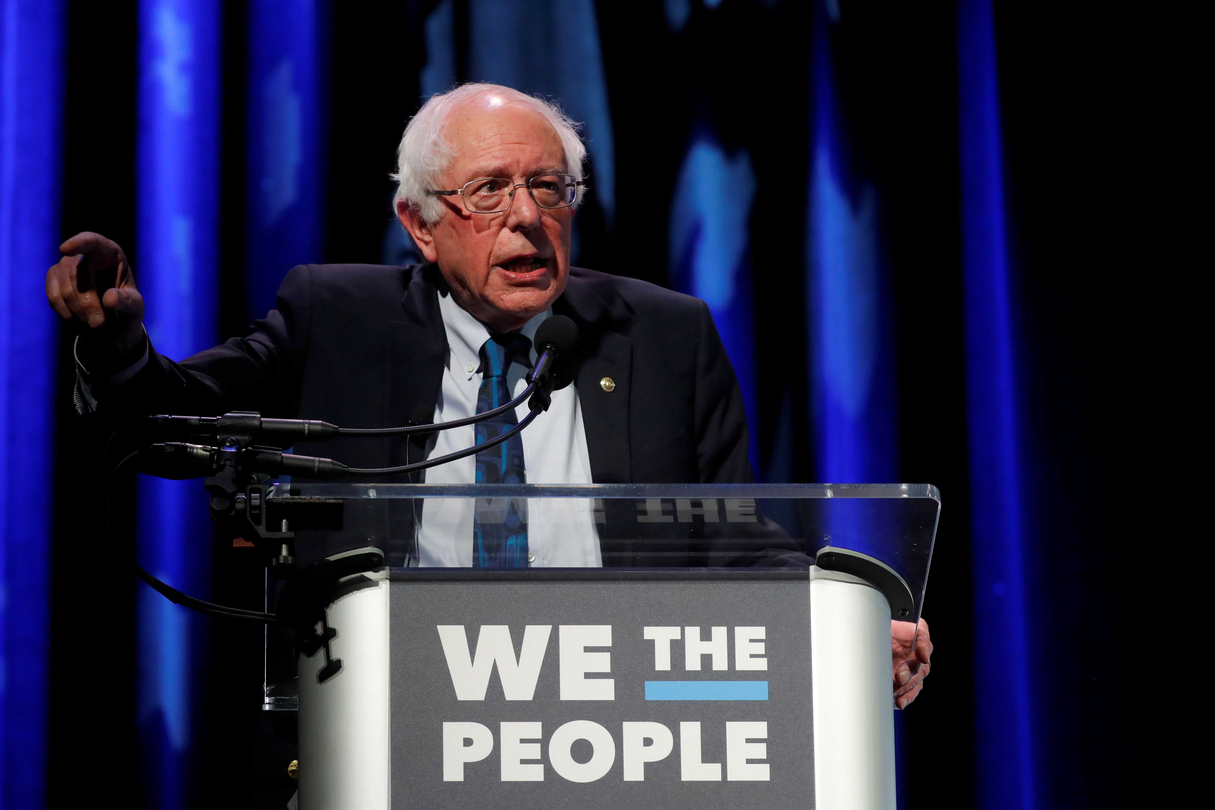 U.S. 2020 Democratic presidential candidate and Senator Bernie Sanders participates in a moderated discussion at the We the People Summit in Washington, U.S., April 1, 2019. REUTERS/Carlos Barria