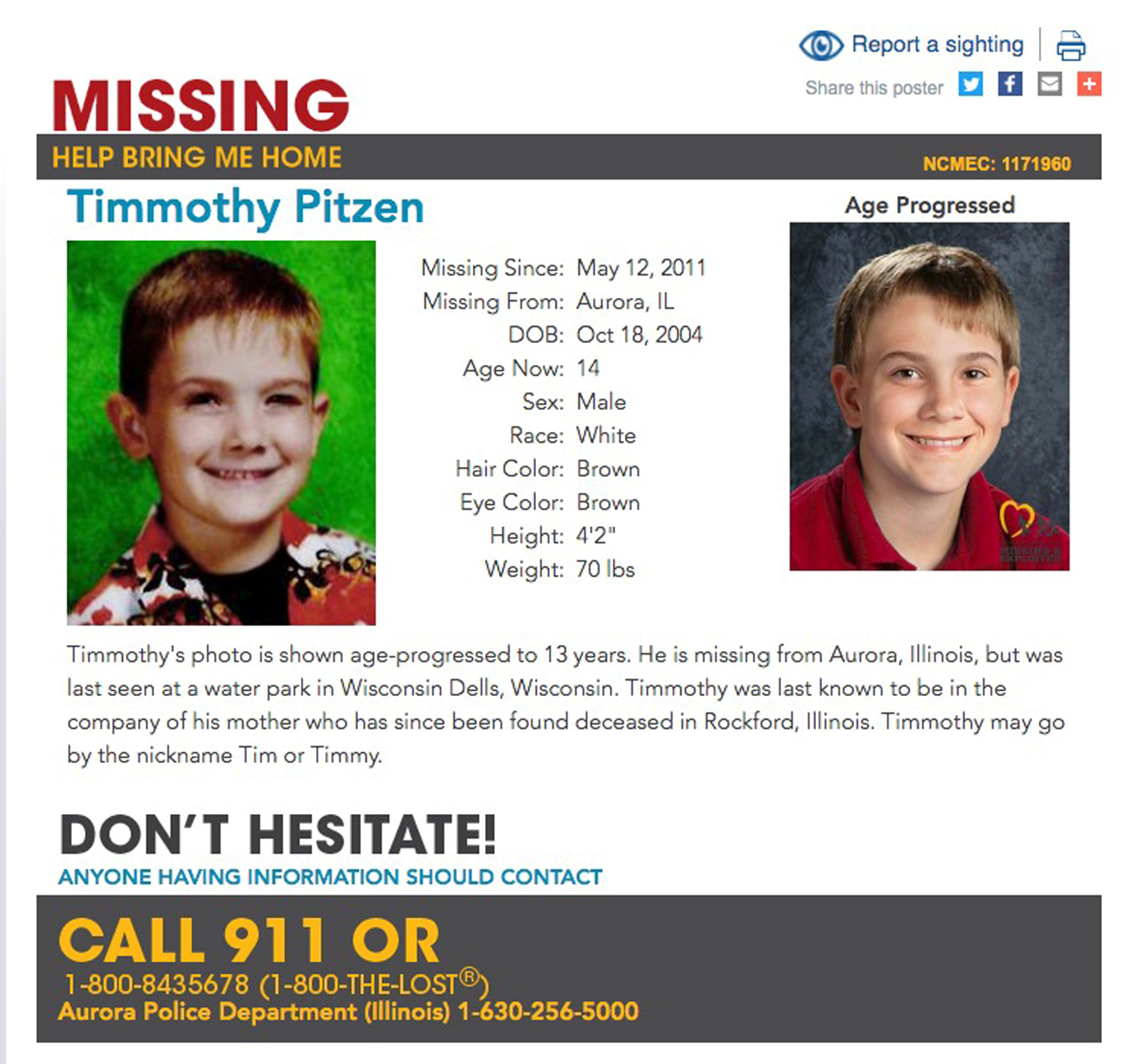 Timmothy Pitzen, missing since May 12, 2011, is shown in both an undated photo and a rendition of what he may look like at age 13 on a poster obtained by Reuters April 4, 2019. National Center for Missing & Exploited Children/Handout via REUTERS