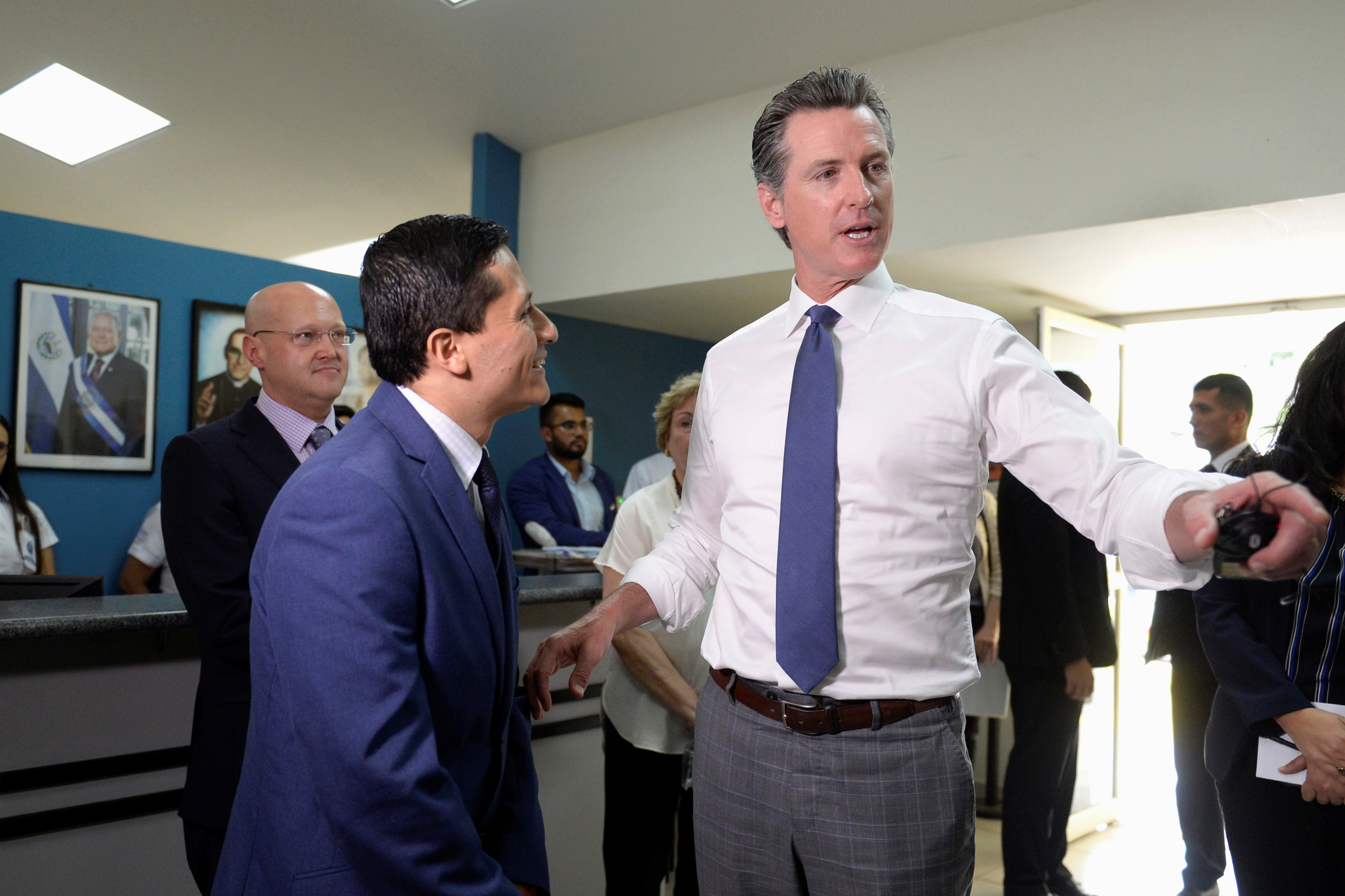 Governor of U.S. state of California Gavin Newsom visits the premises of a migrant assistance office in San Salvador