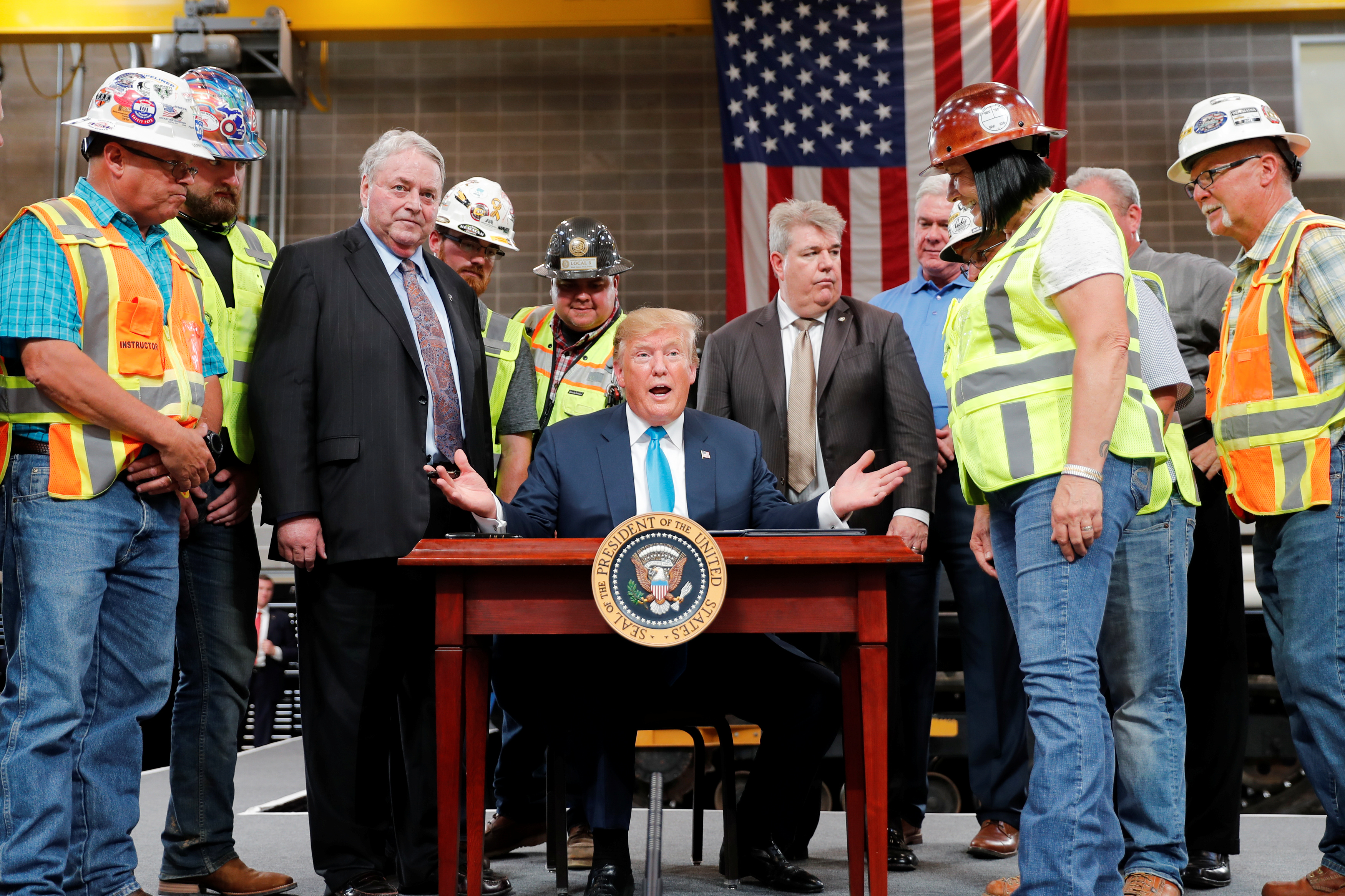 U.S. President Trump participates in energy and infrastructure executive order signing event in Crosby, Texas