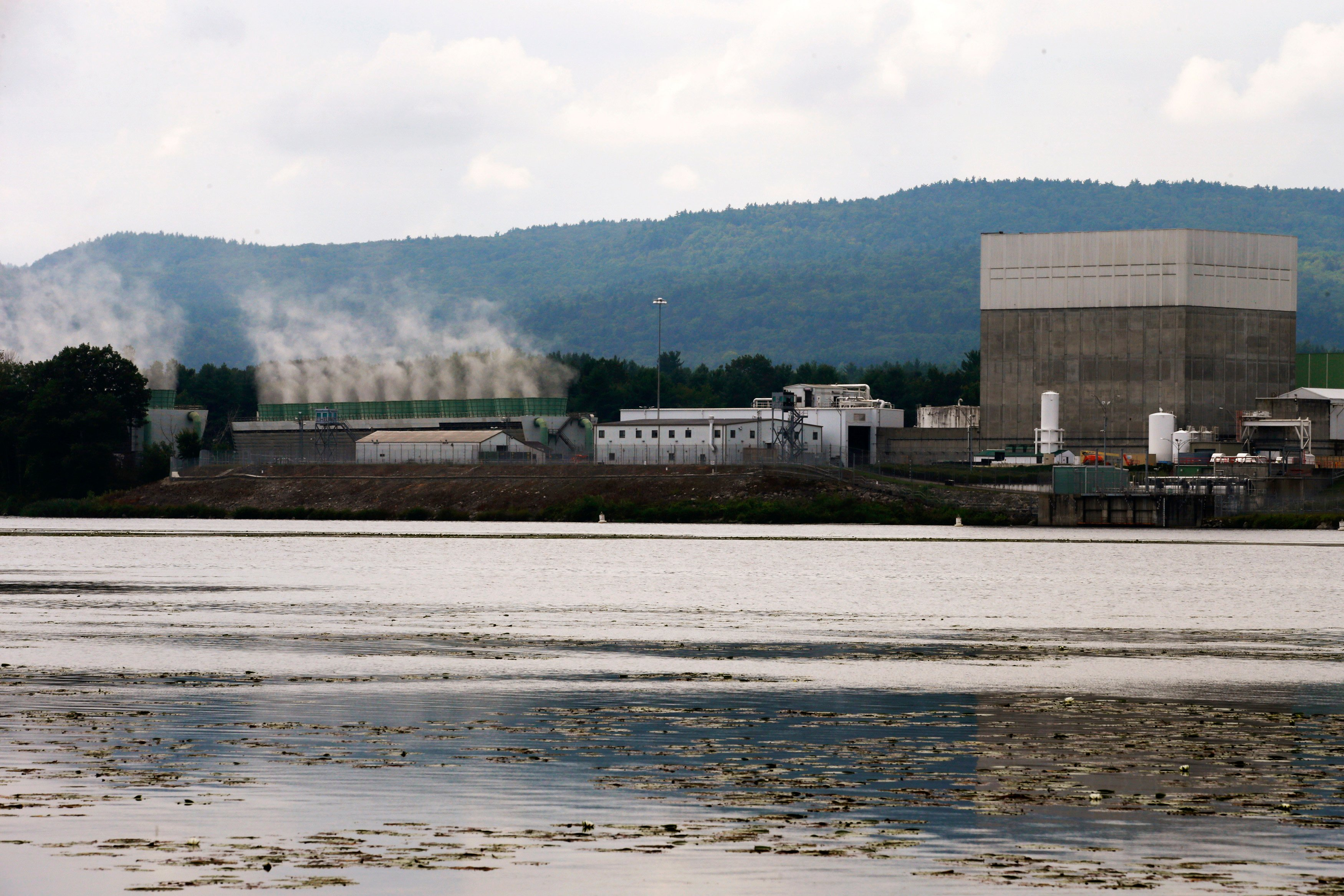 The Vermont Yankee nuclear power plant in Vernon, Vermont sits along the Connecticut River across from Hinsdale