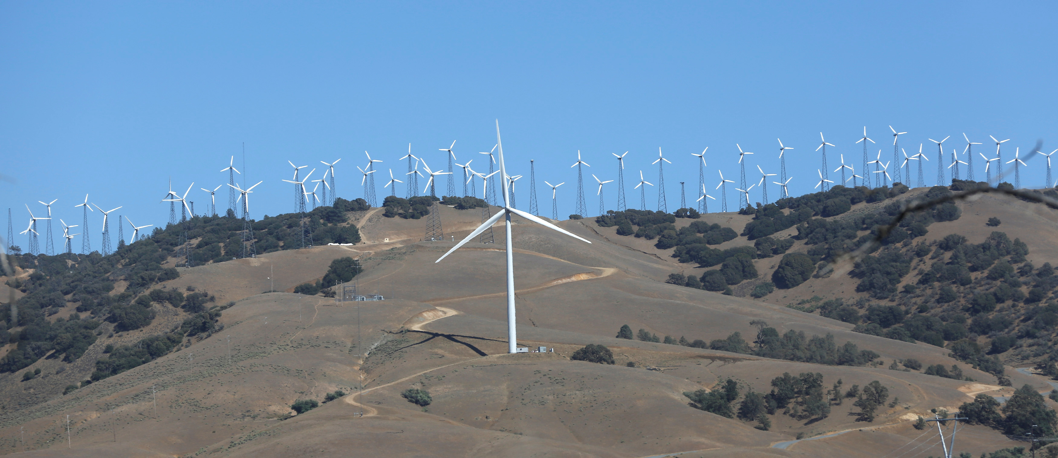 A GE 1.6-100 wind turbine is pictured at a wind farm in Tehachapi