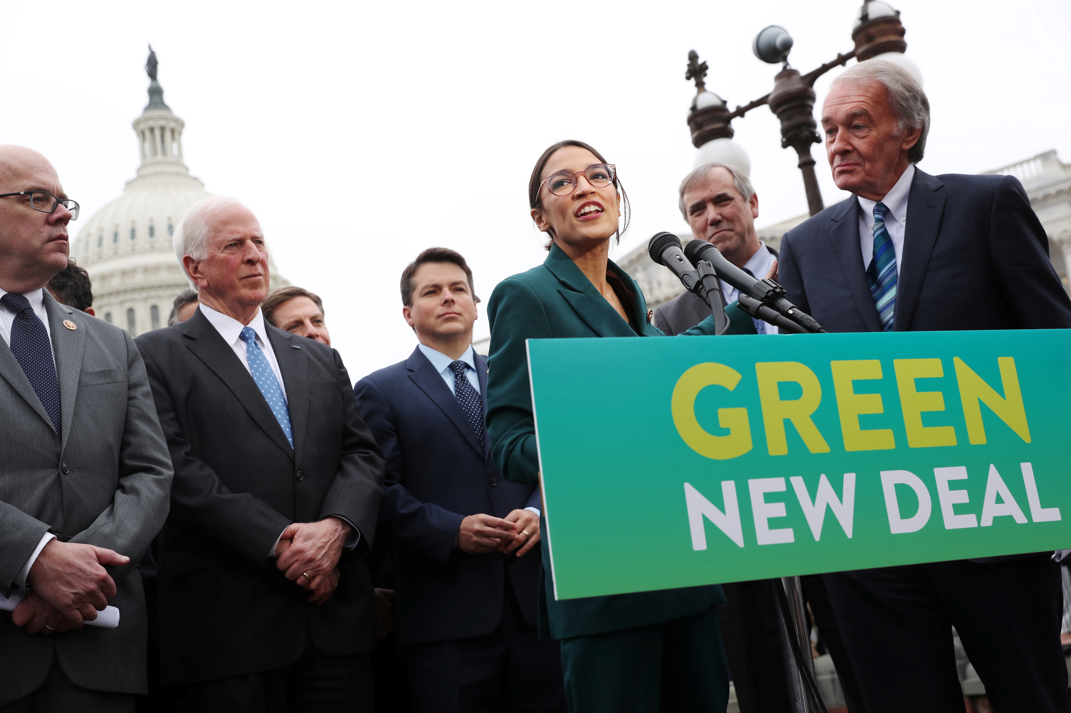 "U.S. Representative Ocasio-Cortez and Senator Markey hold a news conference for their proposed ""Green New Deal"" at the U.S. Capitol in Washington"