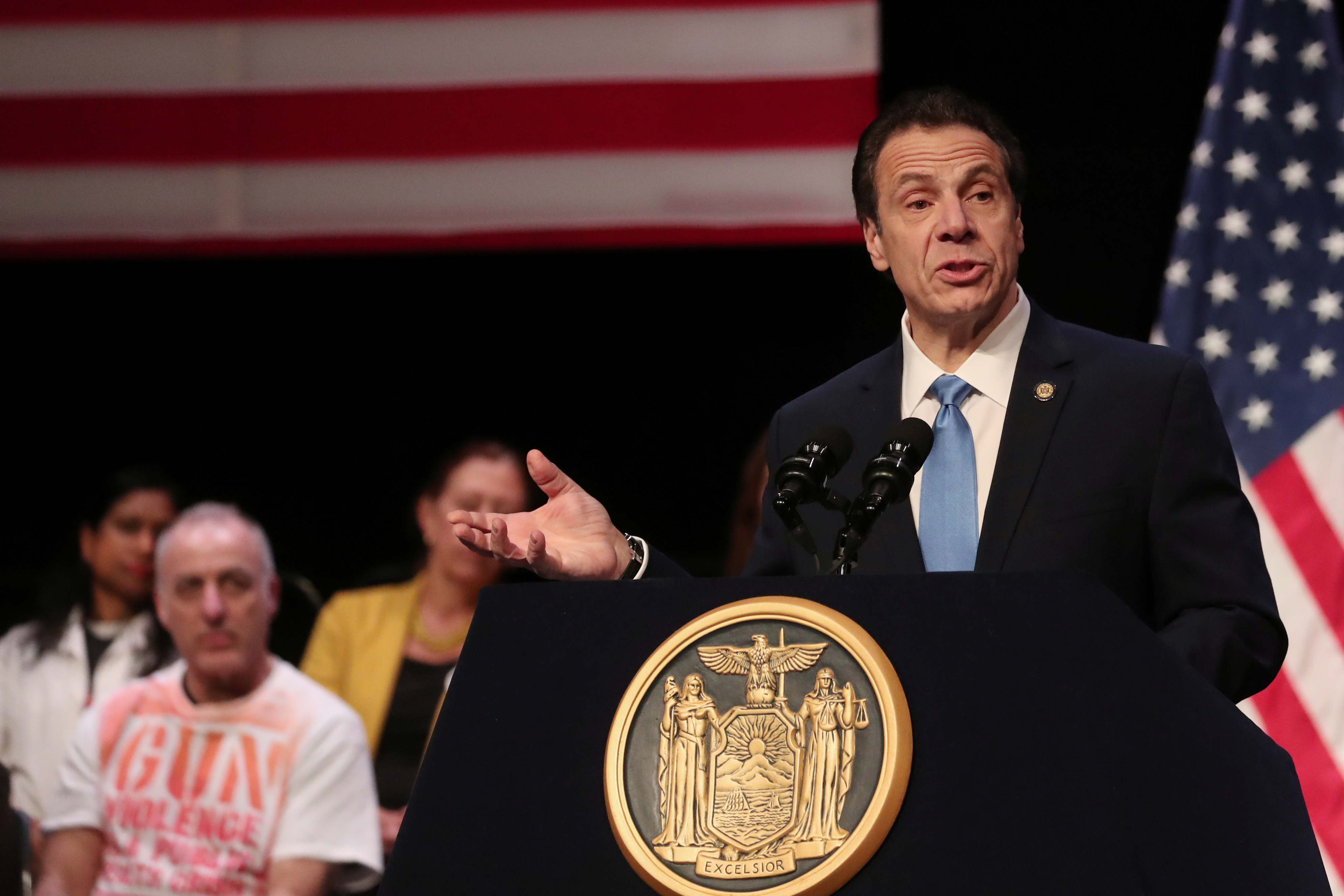 New York Governor Andrew Cuomo speaks before signing the Red Flag bill, also known as the Extreme Risk Protection Order bill, in New York