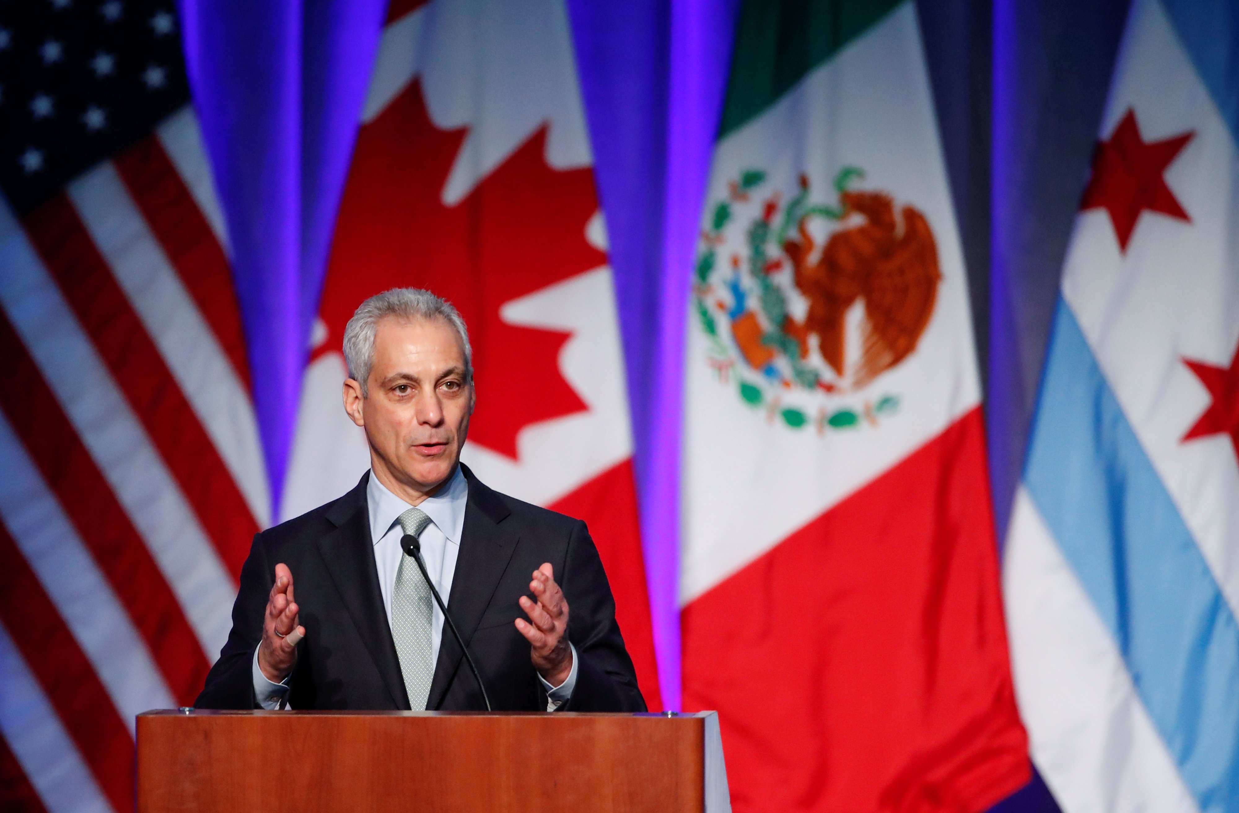 Chicago Mayor Rahm Emanuel speaks during the North American Climate Summit in Chicago, Illinois, U.S., December 5, 2017. REUTERS/Kamil Krzaczynski