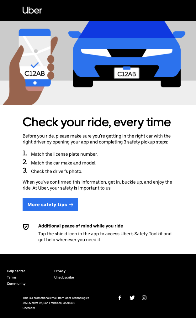 Email to be sent to Uber riders, photo courtesy of Uber.
