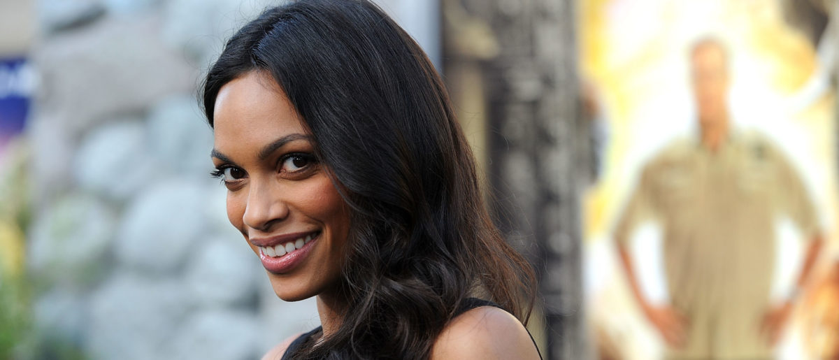 """Actress Rosario Dawson arrives at the Premiere of """"The Zookeeper"""" at the Regency Village Theater, Westwood on July 6, 2011 in Los Angeles, California. (Photo by Frazer Harrison/Getty Images)"""