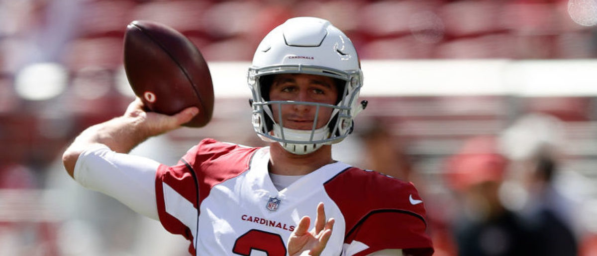 SANTA CLARA, CA - OCTOBER 07: Josh Rosen #3 of the Arizona Cardinals warms up prior to their game against the San Francisco 49ers at Levi's Stadium on October 7, 2018 in Santa Clara, California. (Photo by Jason O. Watson/Getty Images)