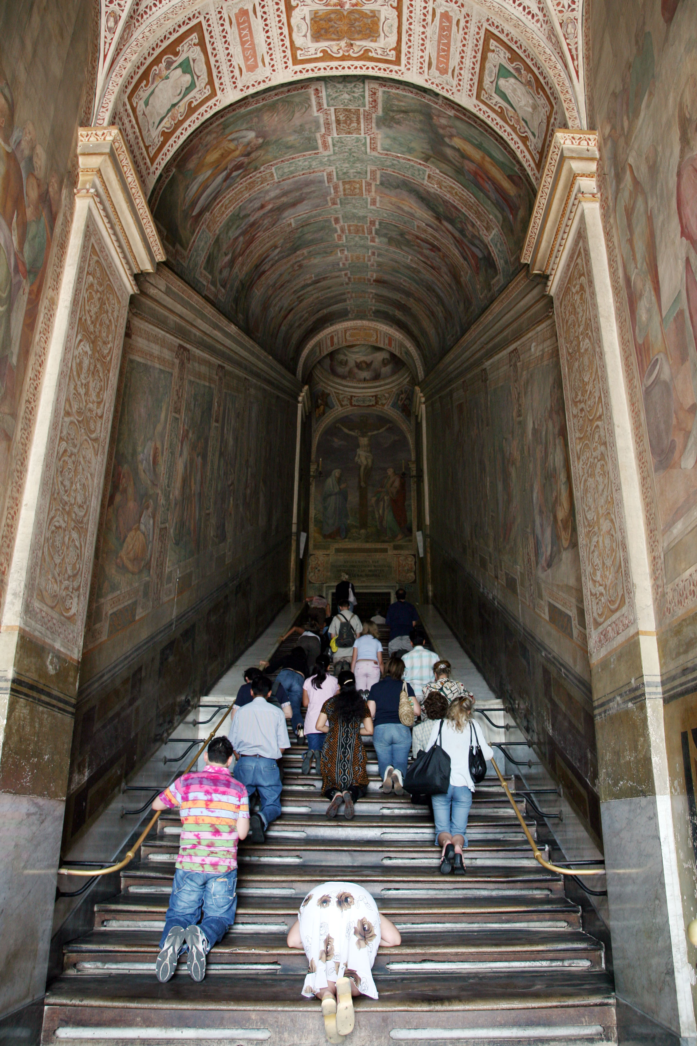 ROME, ITALY - JUNE 13: Pilgrims pray and visit restored frescos of the Scala Sancta (Holy Stairs) on June 13, 2007 in Rome, Italy. (Photo by Franco Origlia/Getty Images)
