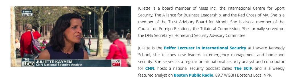 Juliette Kayyem's Website (Screenshot)